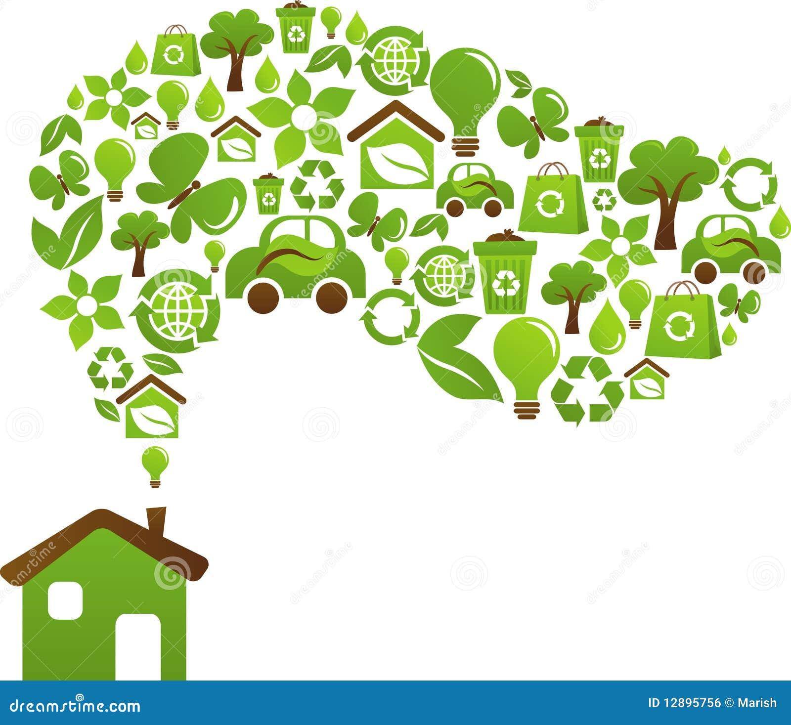 Concepto de la casa de Eco - iconos verdes de la energía
