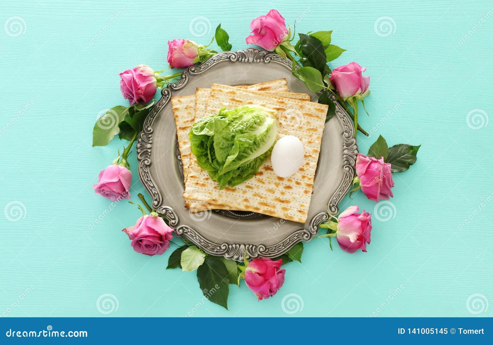 Concepto de la celebración de Pesah y x28; holiday& judío x29 de la pascua judía; Visión superior, endecha plana