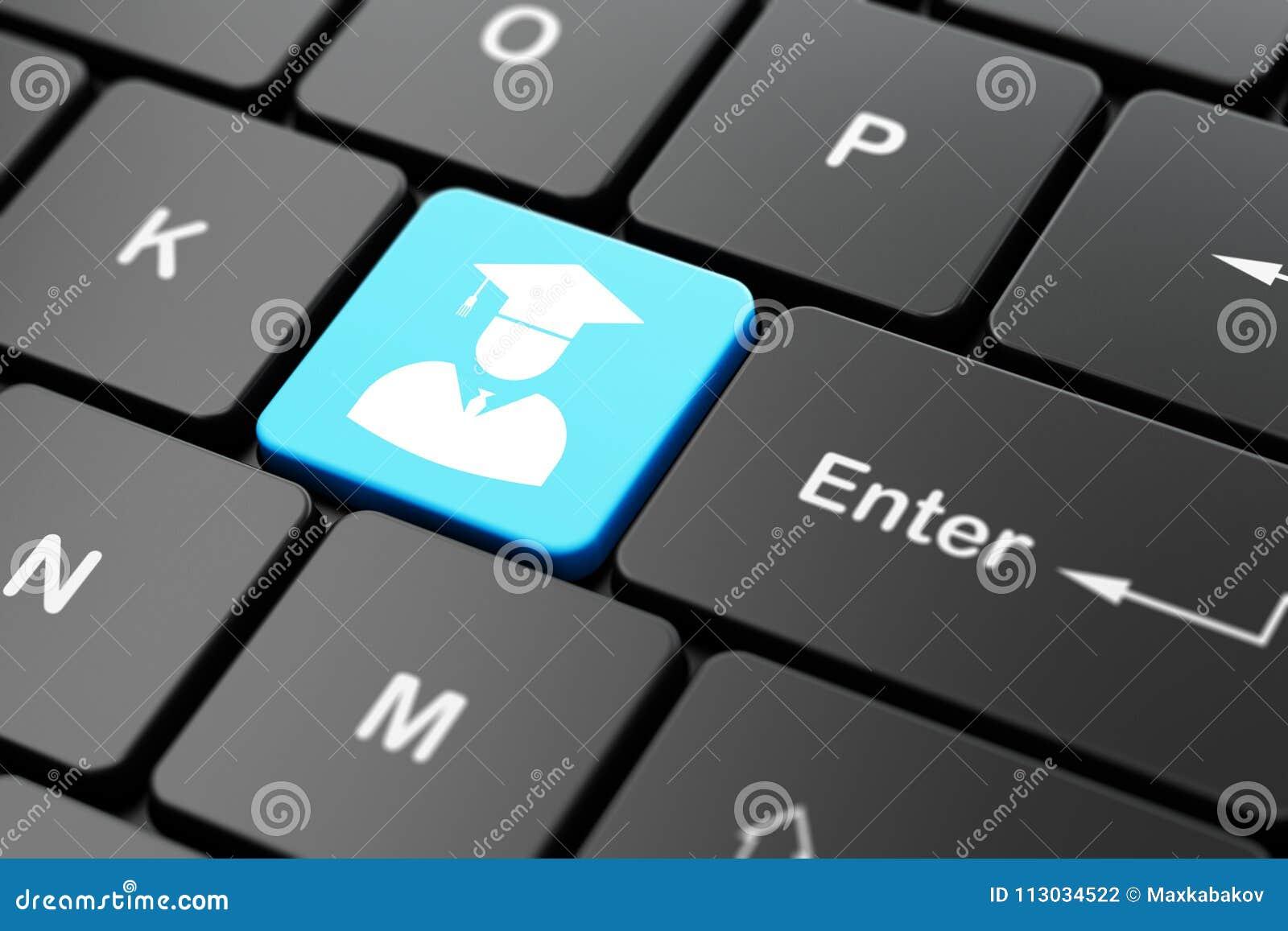 Concepto de la ciencia: Estudiante en fondo del teclado de ordenador