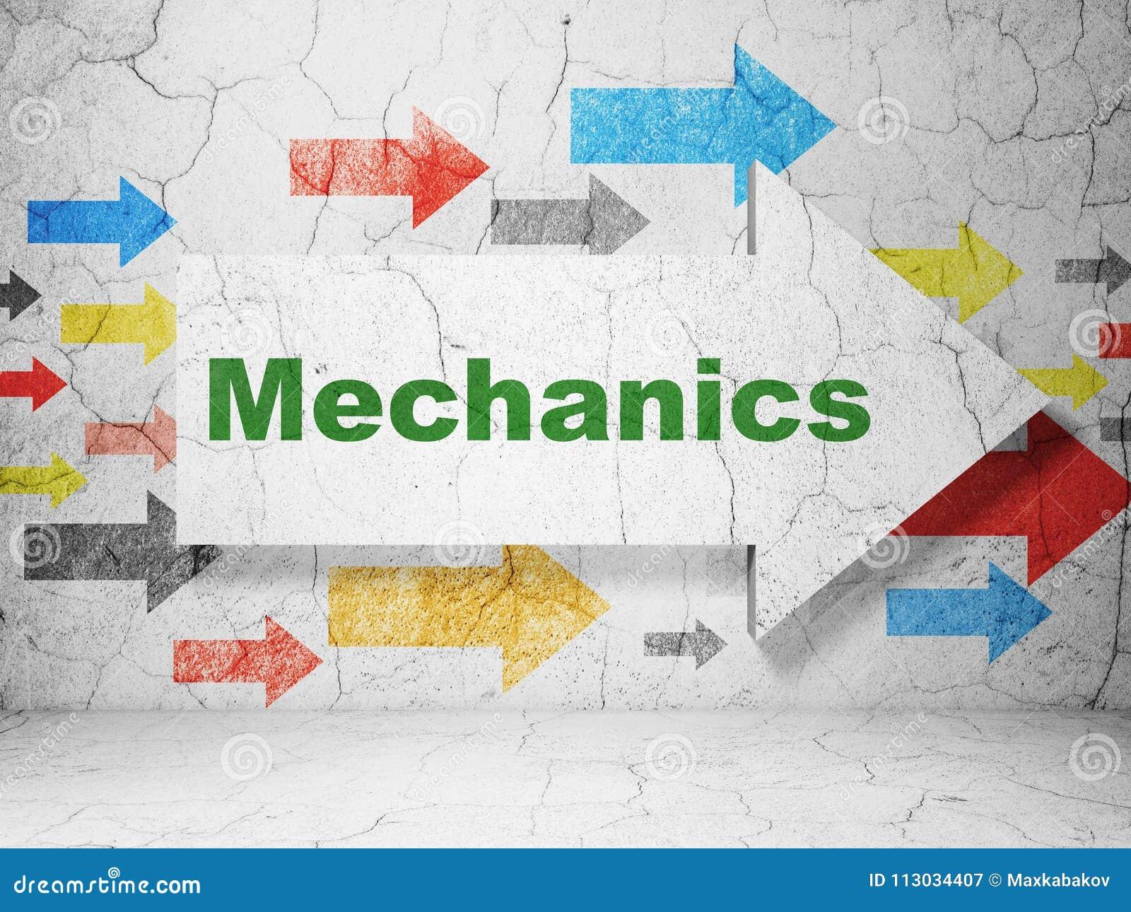 Concepto de la ciencia: flecha con los mecánicos en fondo de la pared del grunge