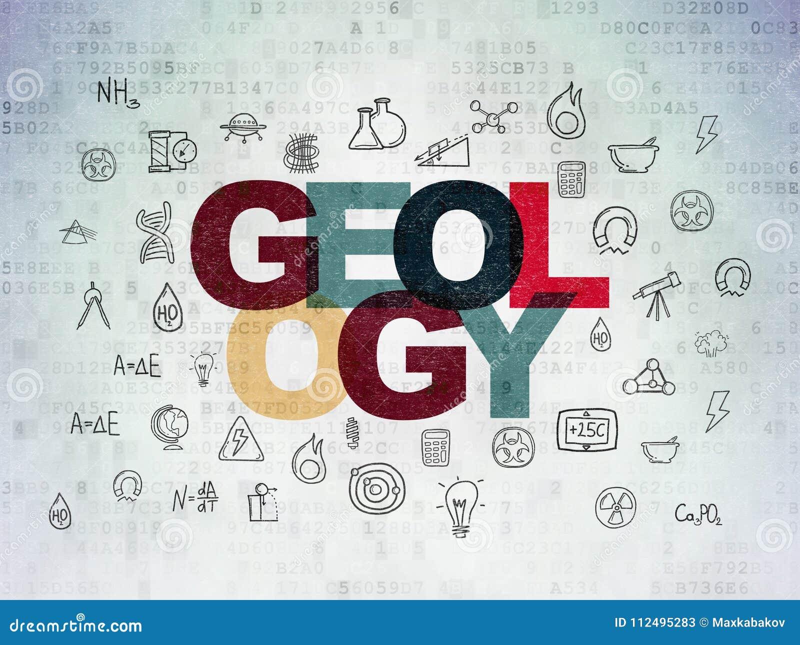 Concepto de la ciencia: Geología en fondo del papel de datos de Digitaces