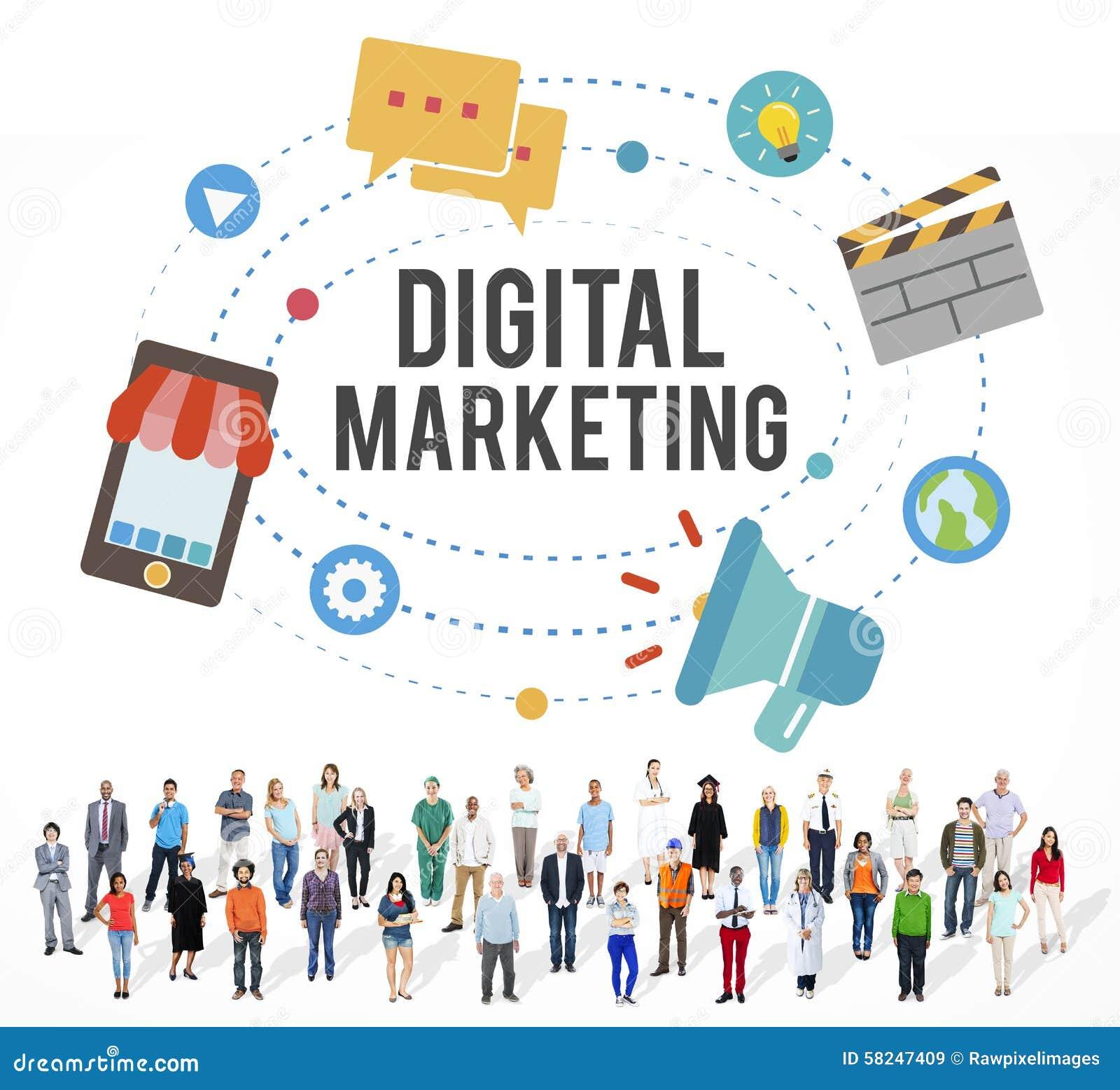 Concepto de la comunicación de marketing de Digitaces de la idea del negocio