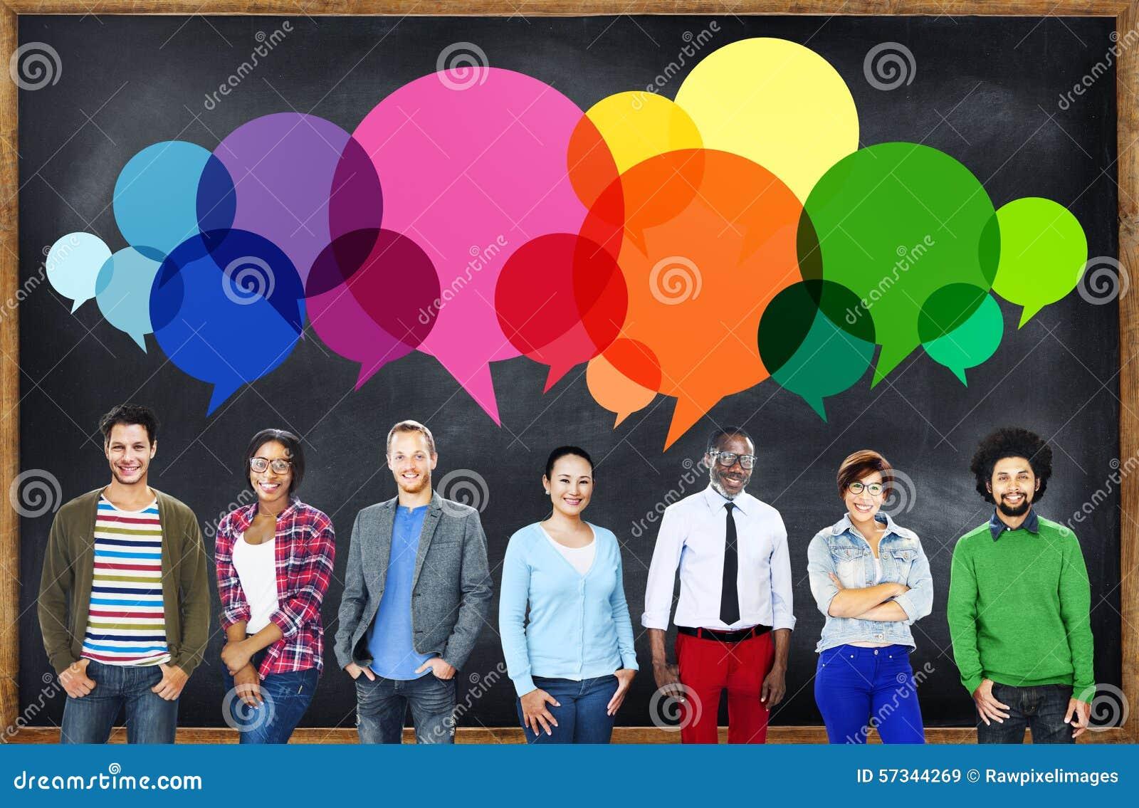 Concepto de la comunicación del mensaje casual de la gente que habla