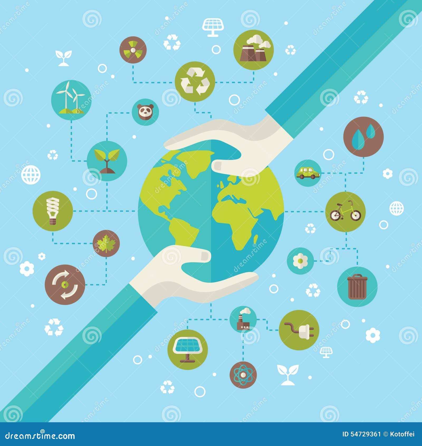 Concepto de la conexión de red de la ecología con las manos