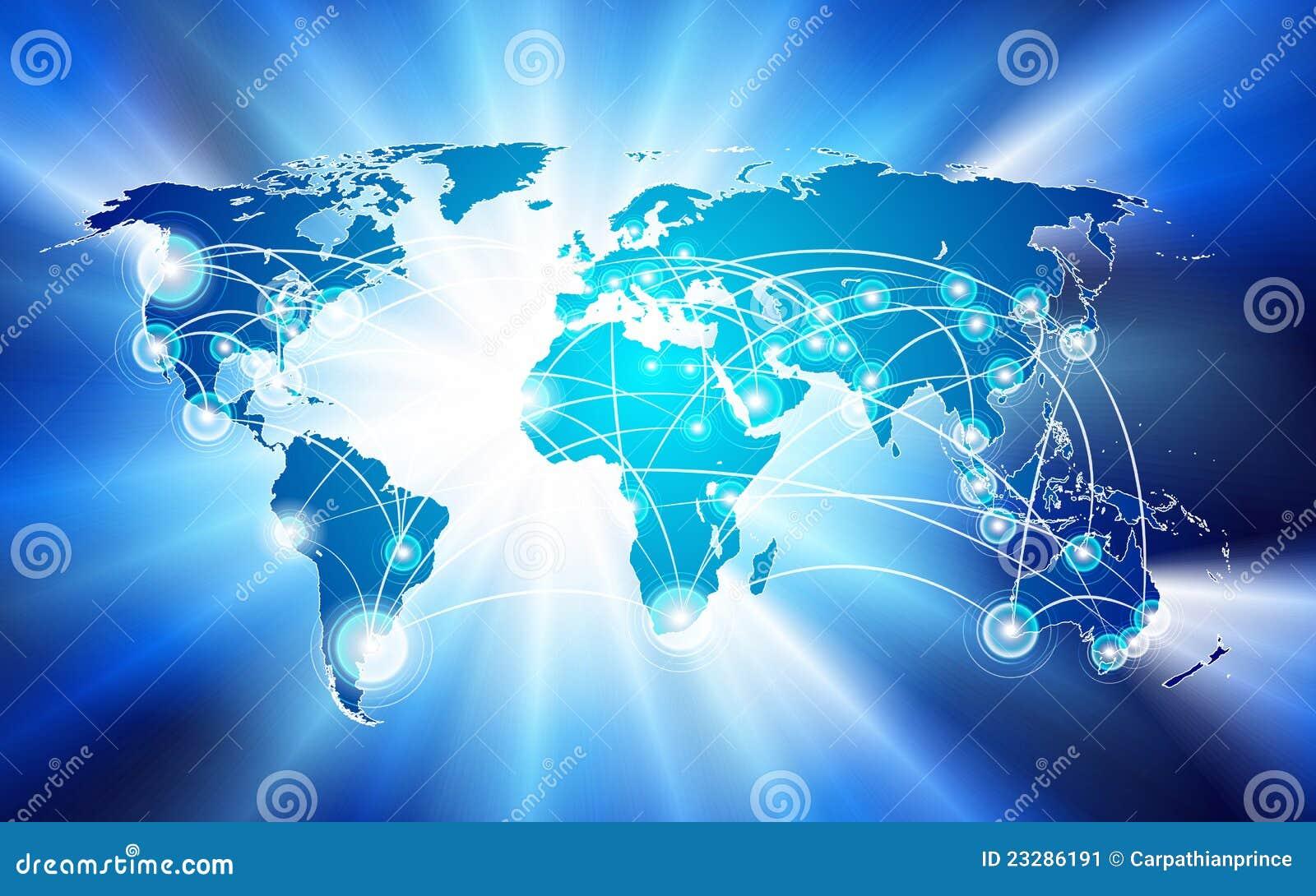 Concepto de la conexión de red global
