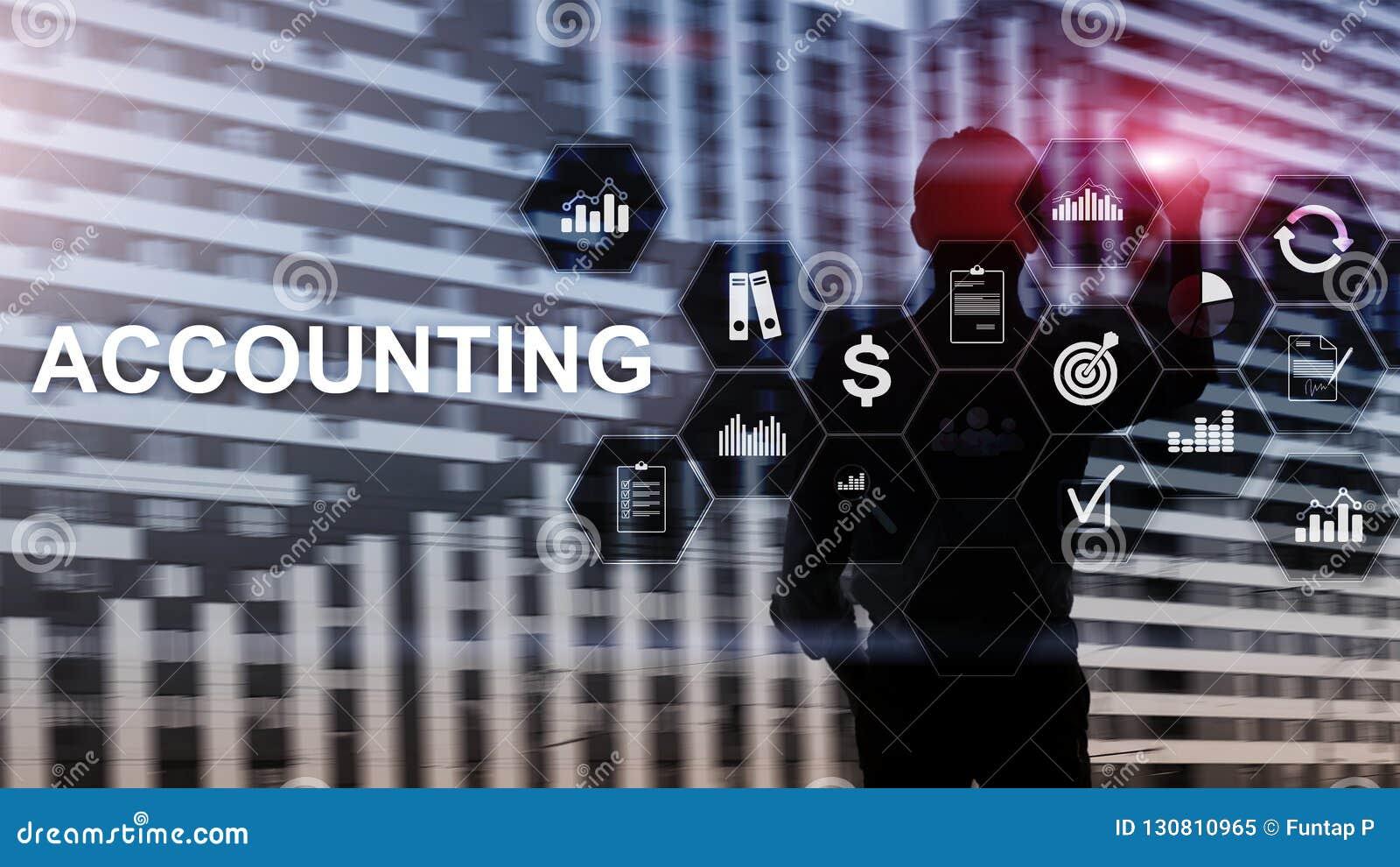 Concepto de la contabilidad, del negocio y de las finanzas en la pantalla virtual