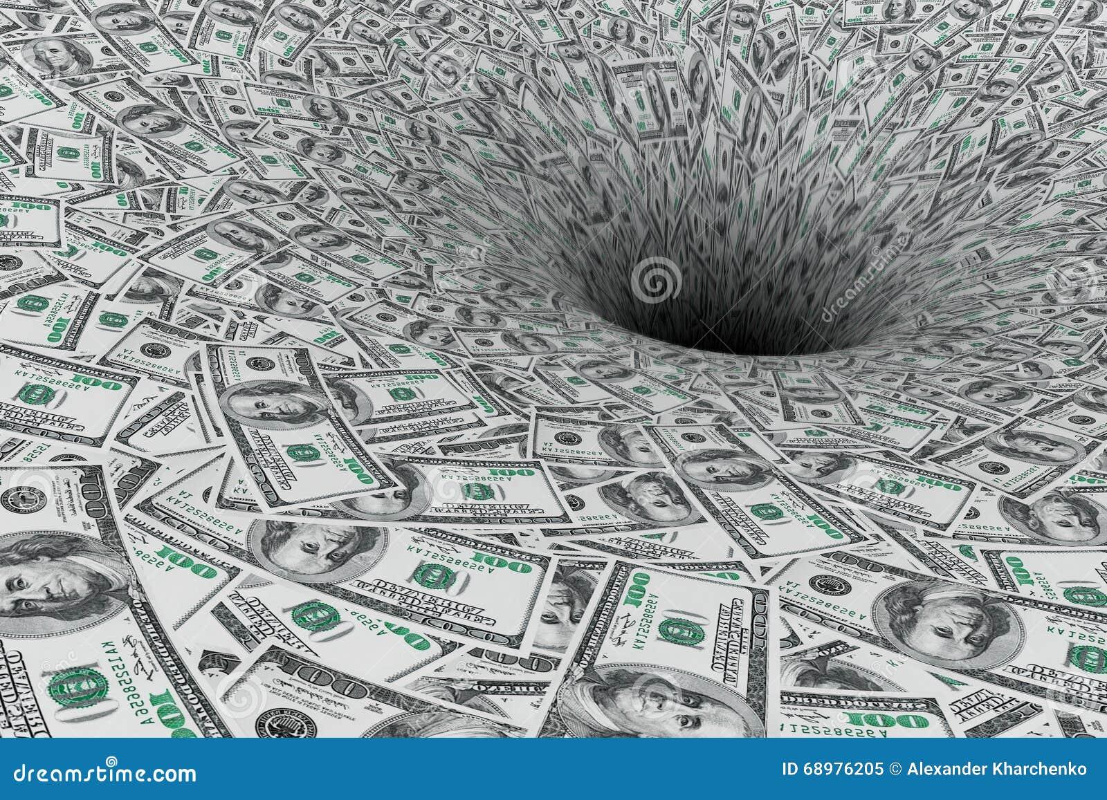 Concepto de la crisis Flujo de dinero en calabozo