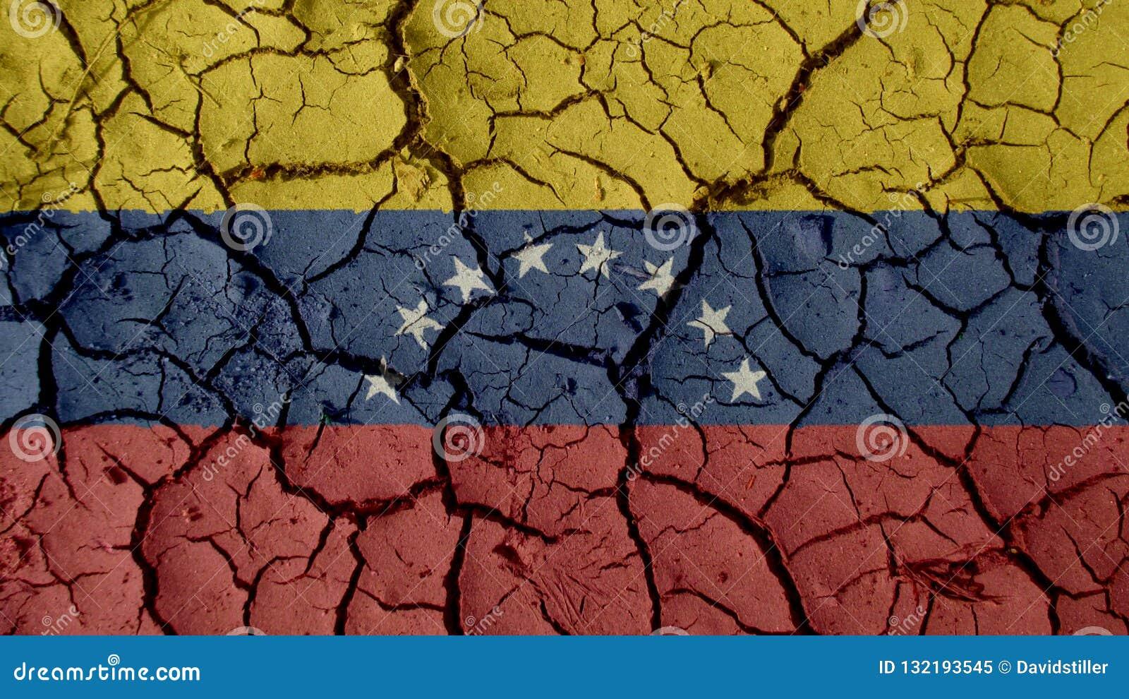 Concepto de la crisis: Grietas del fango con la bandera de Venezuela