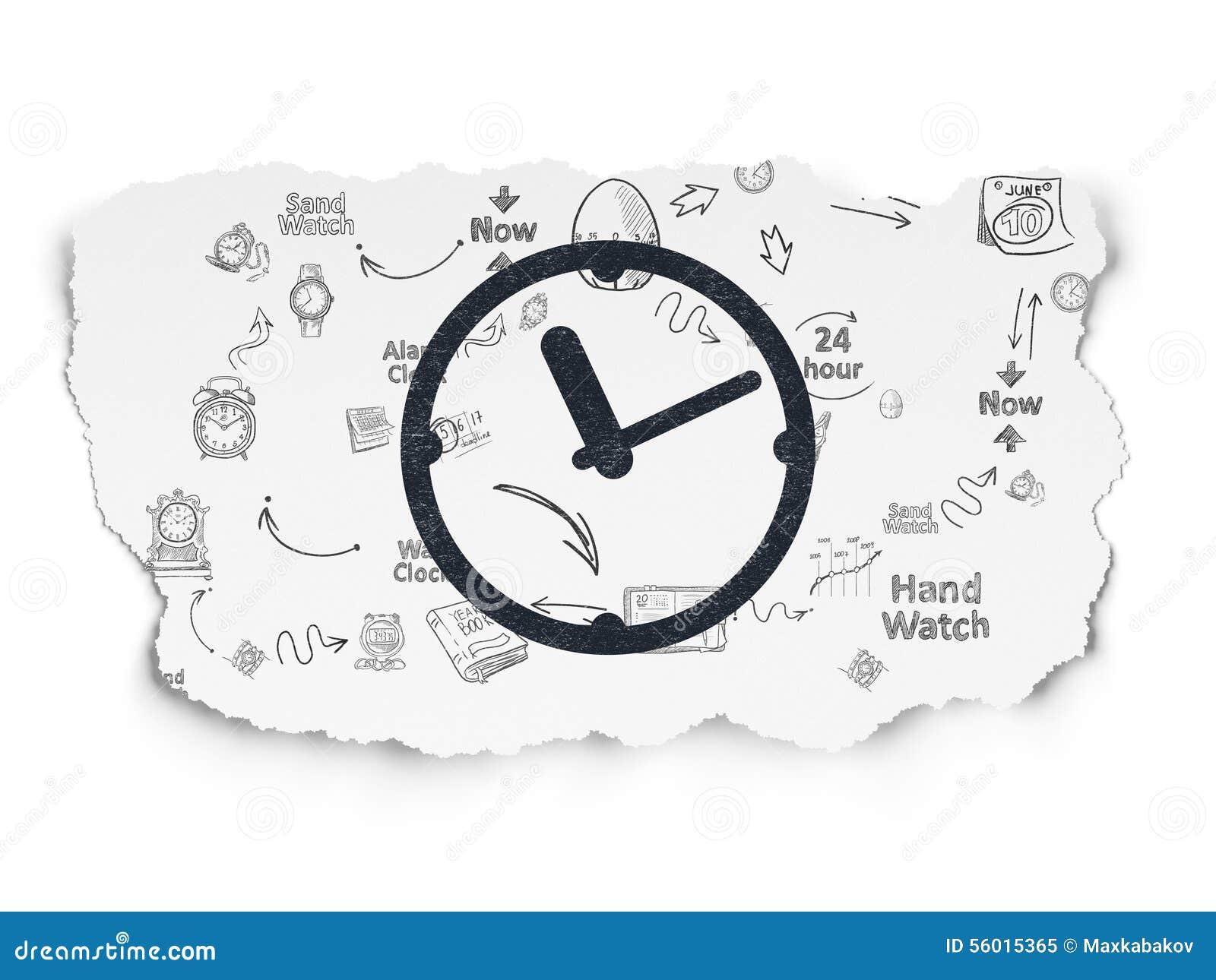 Concepto de la cronolog a reloj en fondo de papel rasgado - Reloj pintado en la pared ...