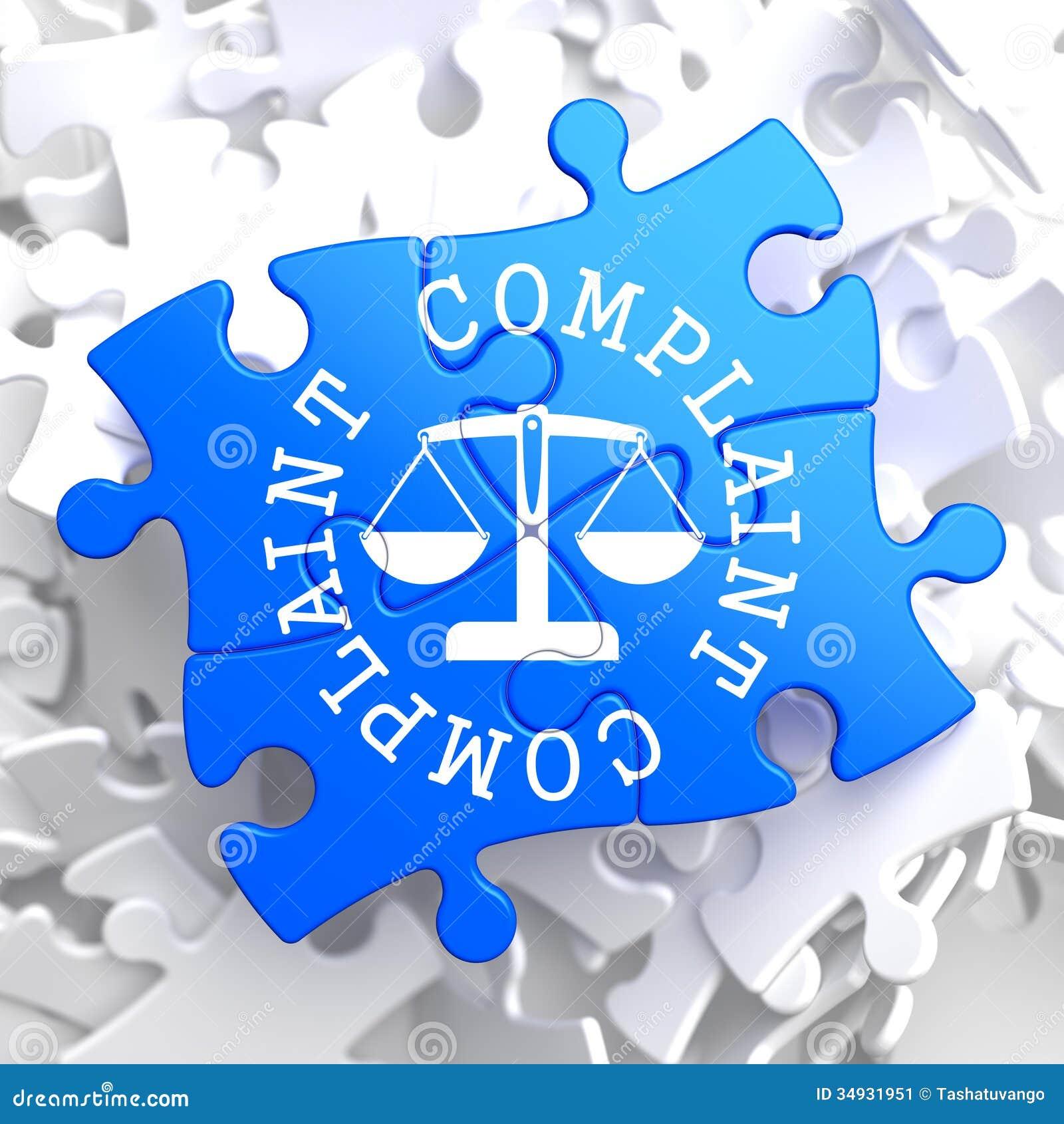 Concepto de la denuncia en rompecabezas azul.