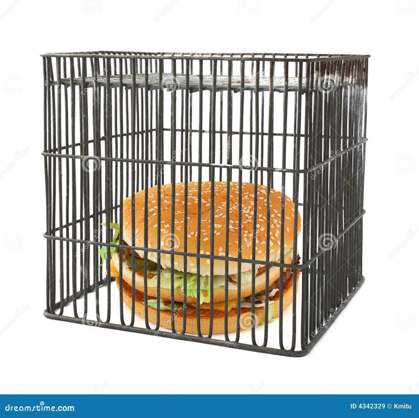 Concepto de la dieta - alimentos de preparación rápida detrás de barras