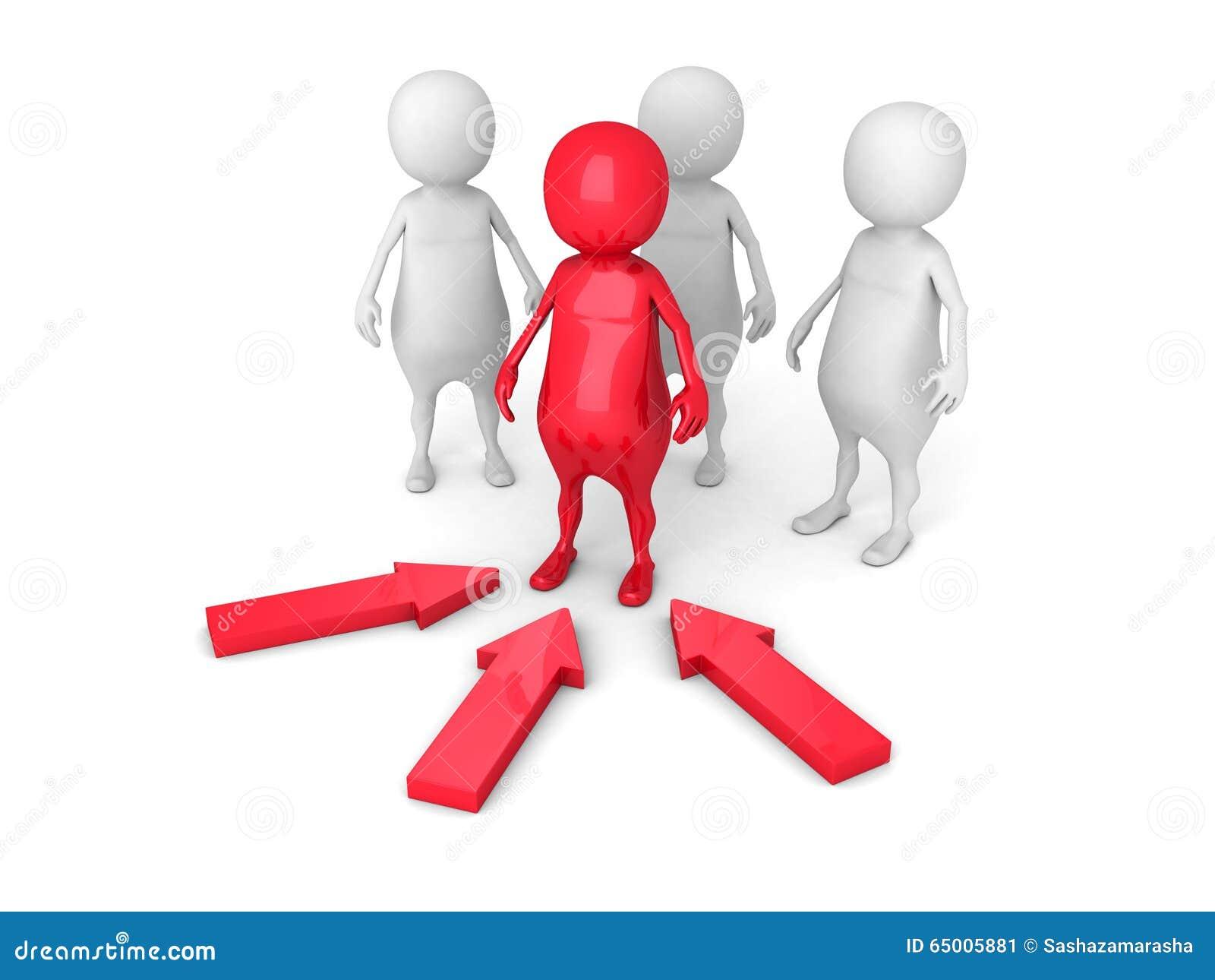 Concepto de la dirección con Person Leader rojo