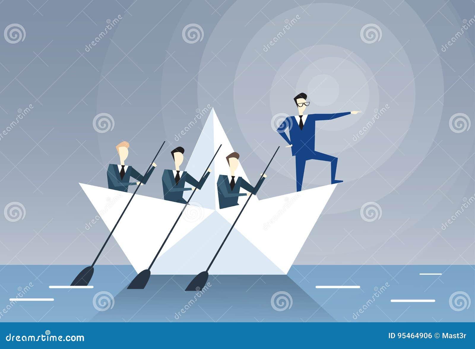 Concepto de la dirección de Leading Business People Team Swim In Boat Teamwork del hombre de negocios
