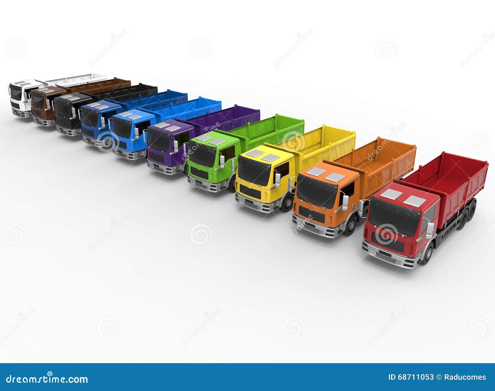 Concepto de la diversidad de la flota de camiones