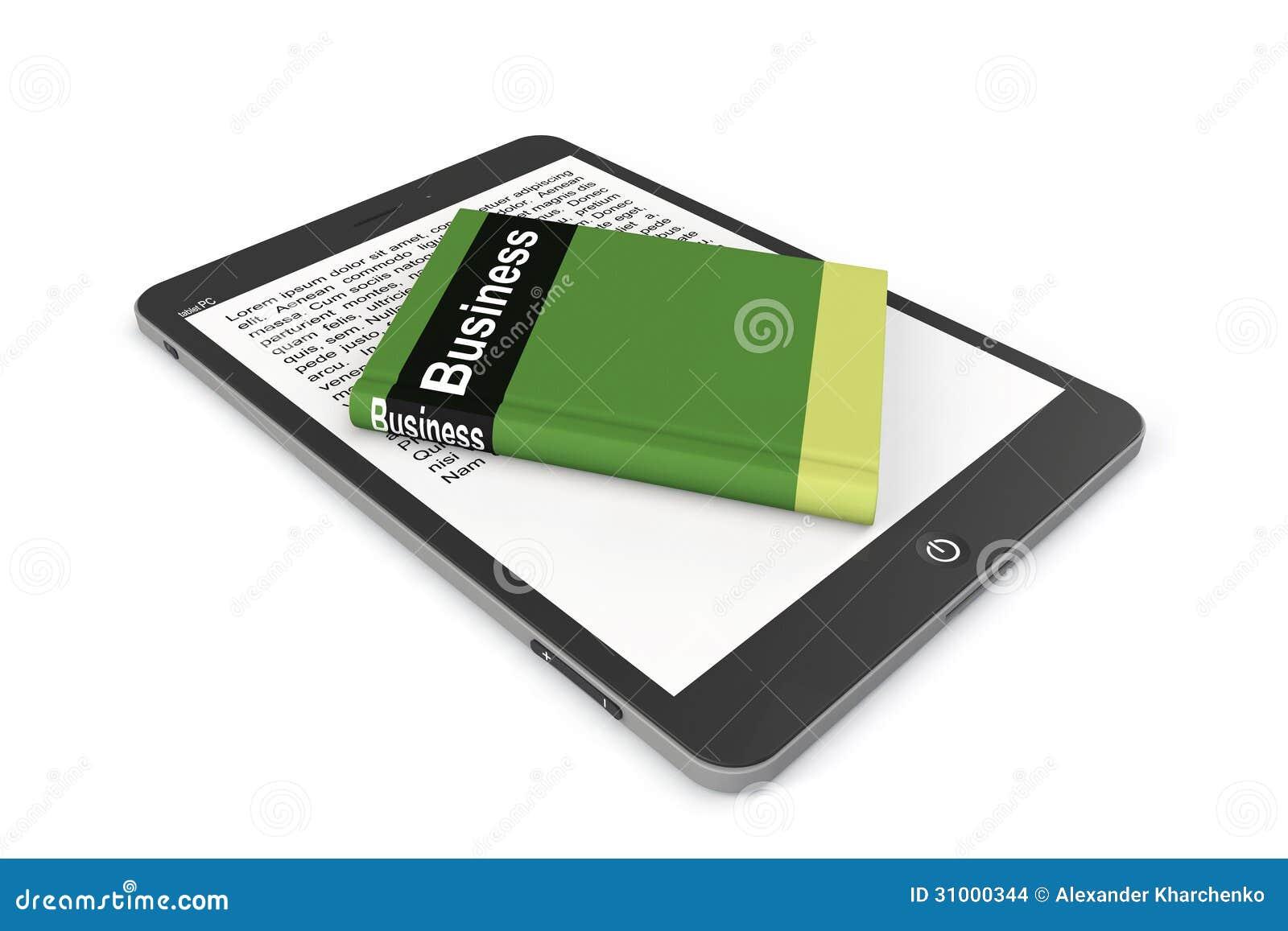Concepto de la E-biblioteca. Tablet PC con el libro