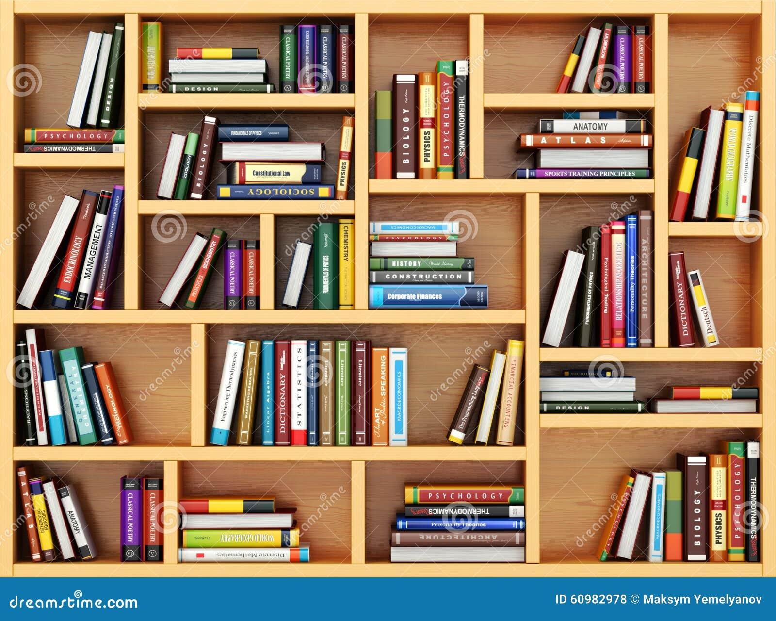 Concepto de la educaci n libros y libros de texto en el - Estantes para libros ...