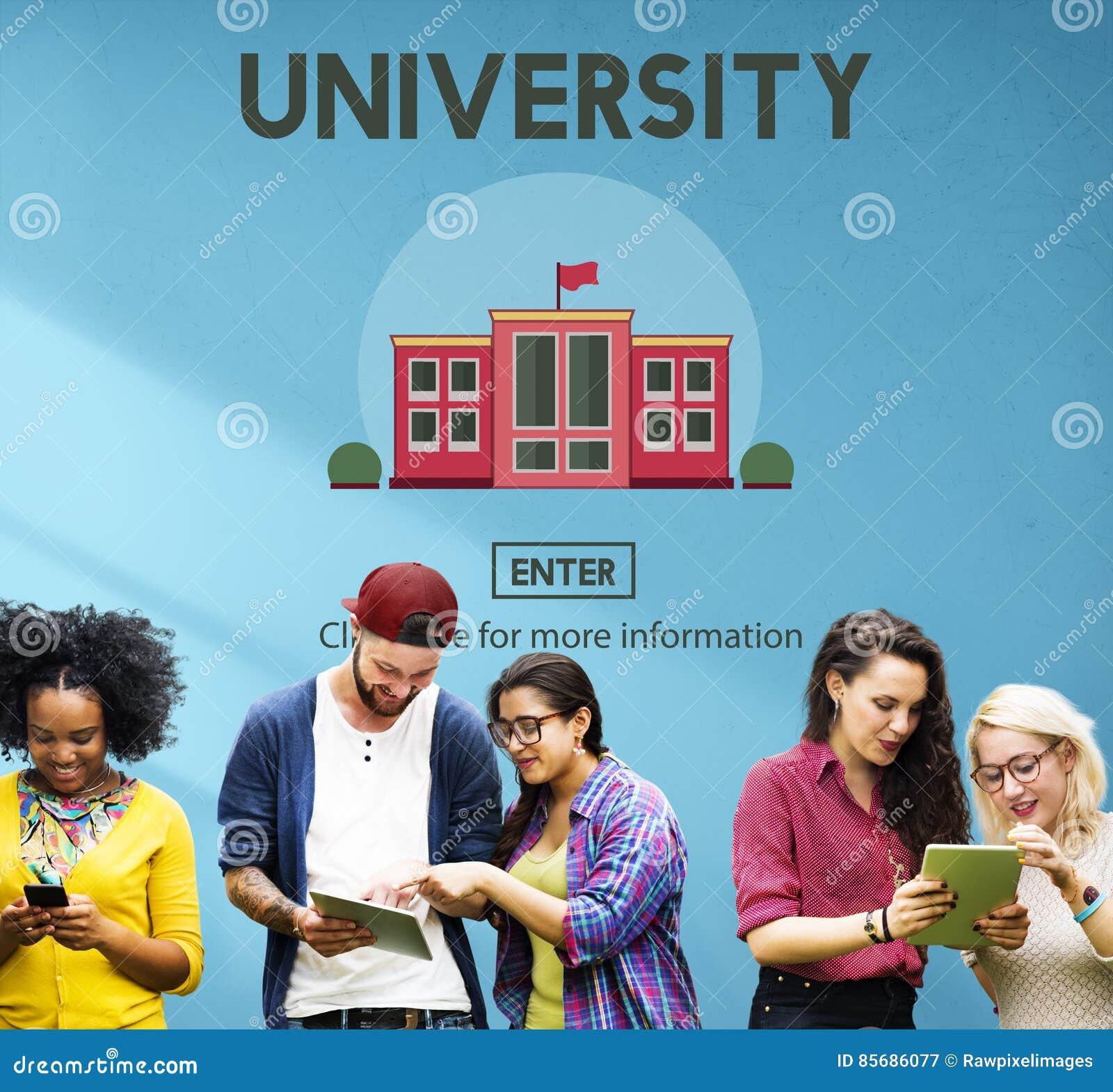 Concepto de la escuela del conocimiento de la educación del campus universitario
