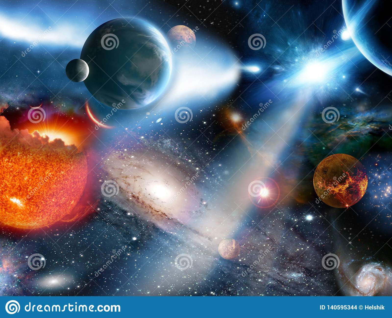 Concepto de la fantasía que sorprende con el sol ardiendo en fondo estrellado