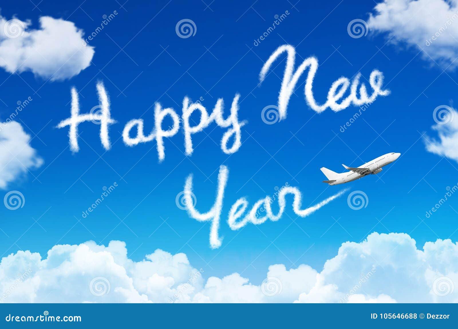 Concepto de la Feliz Año Nuevo Dibujo por la estela de vapor del vapor del aeroplano en cielo