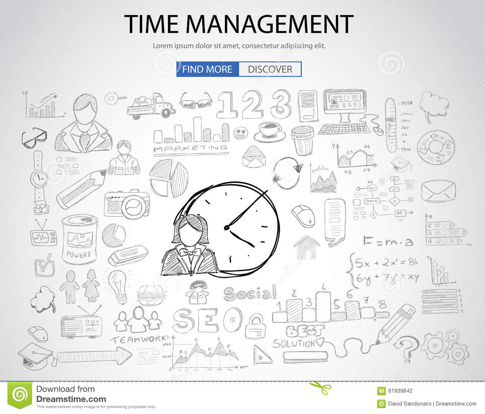 Concepto de la gestión de tiempo con estilo del diseño del garabato
