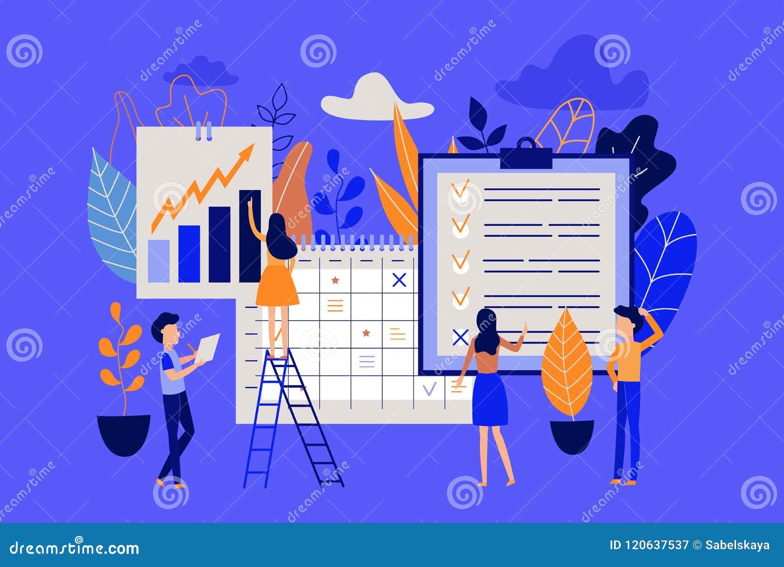 Concepto de la gestión del planeamiento y de tiempo con el trabajo de organización de la gente de proceso y la observación de tar