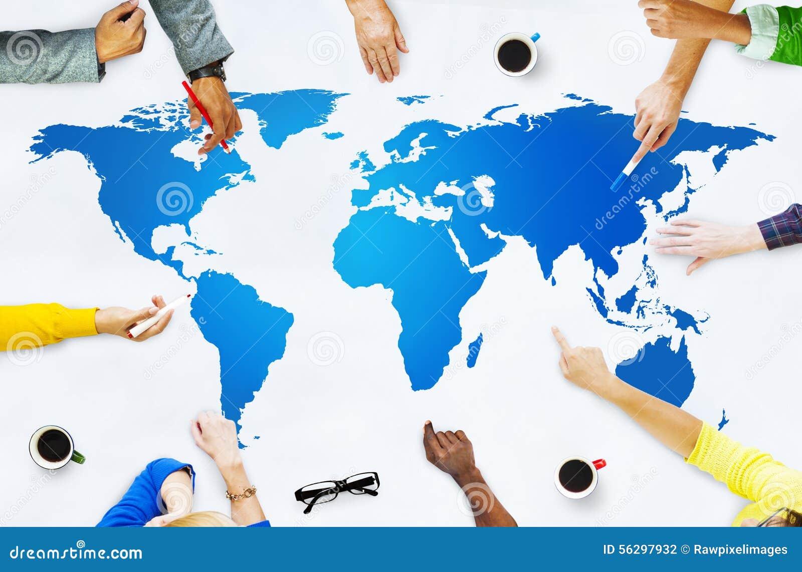 Concepto de la globalización de la conexión del mapa del mundo de la cartografía