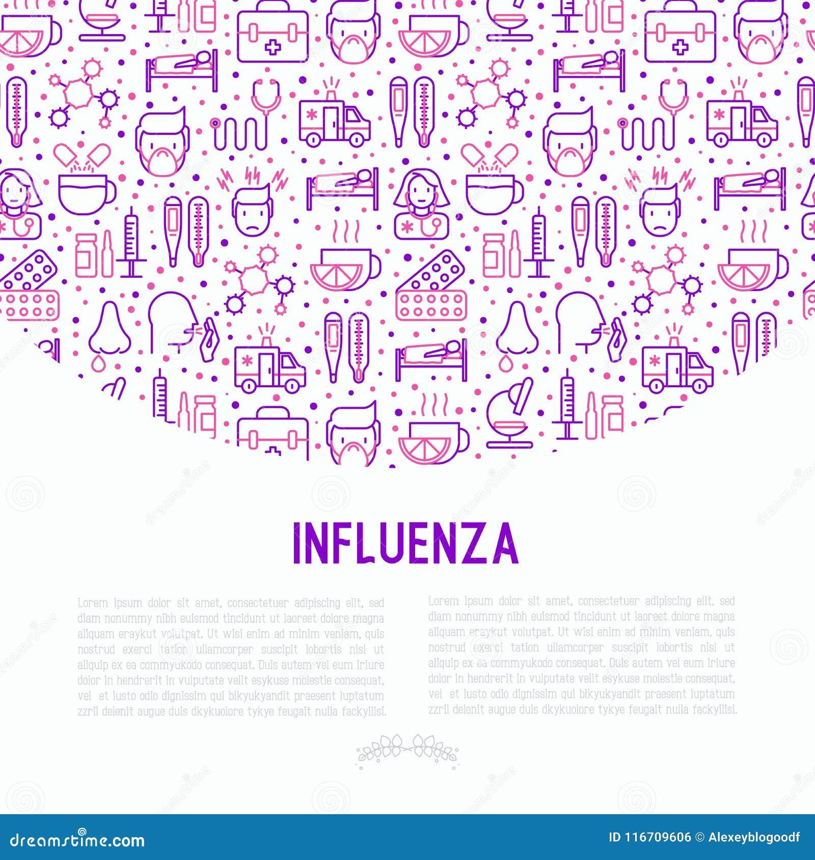 Concepto de la gripe con la línea fina iconos