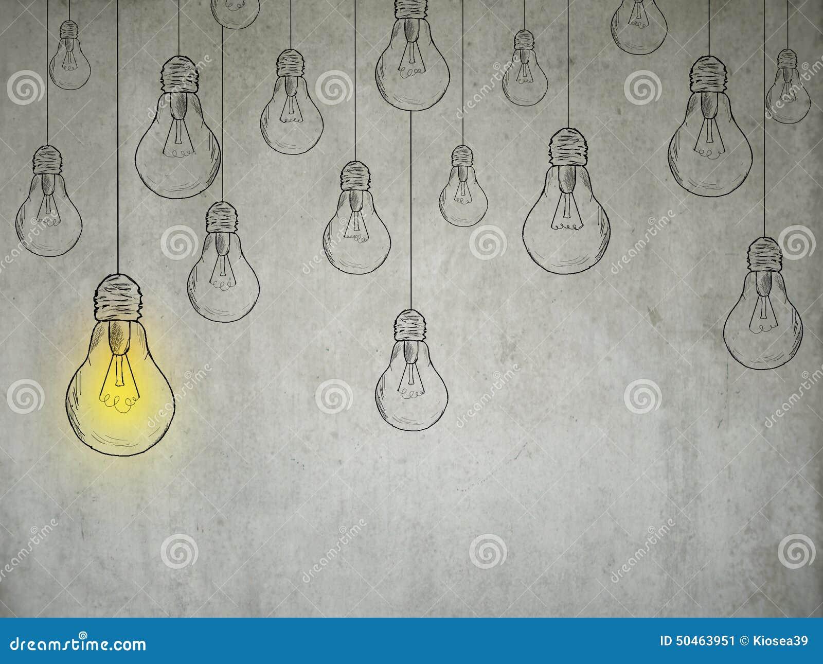 Concepto de la idea con las bombillas