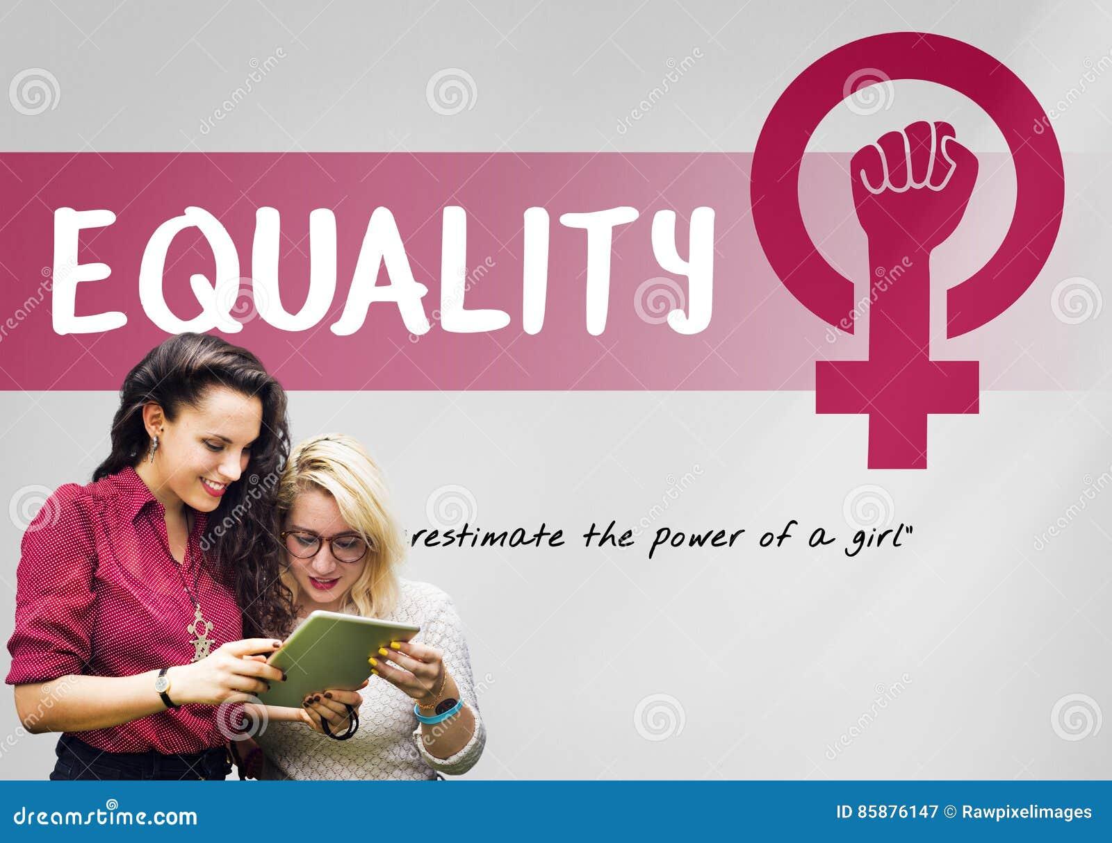 Concepto de la igualdad de oportunidades del feminismo del poder de la muchacha de las mujeres