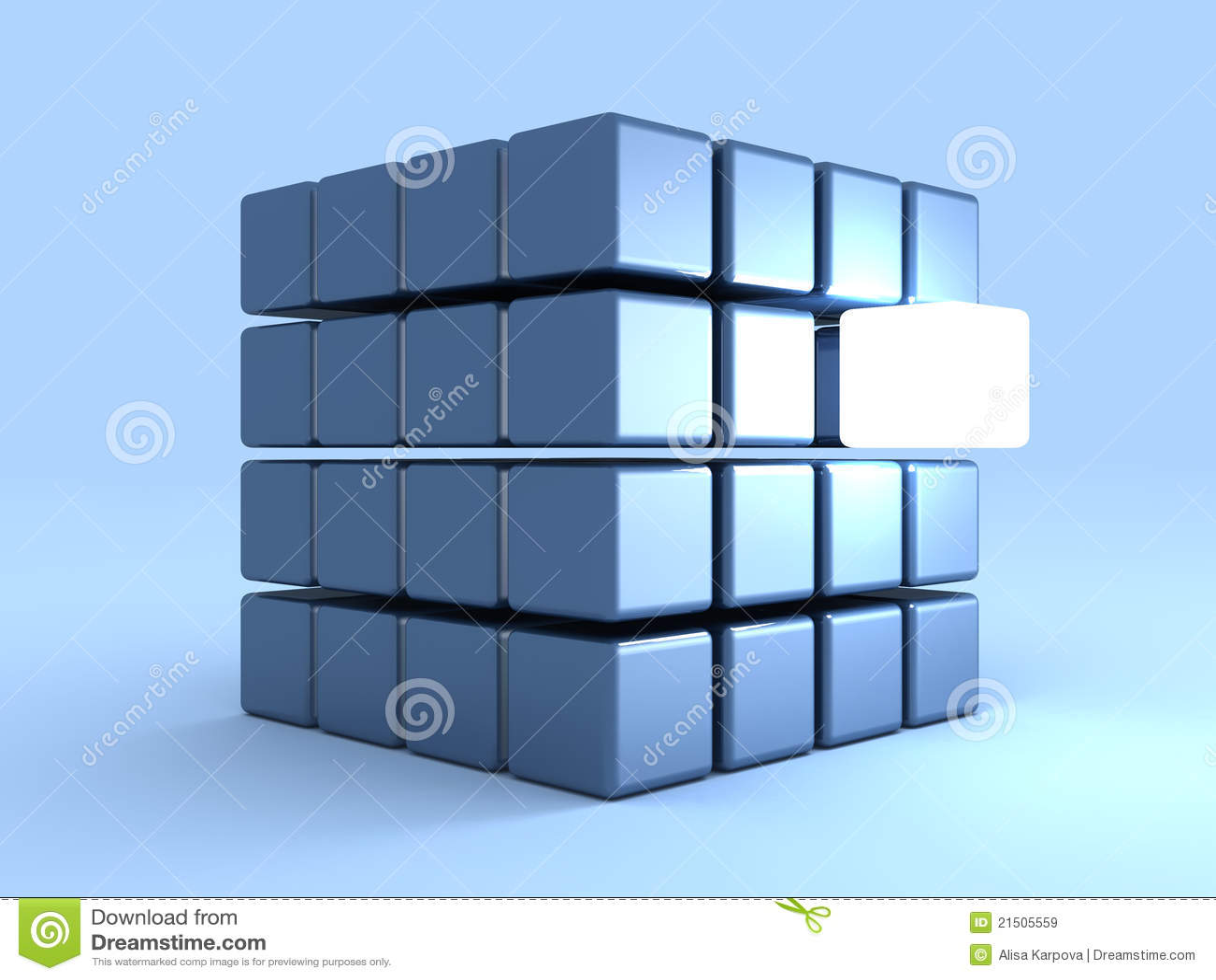 Concepto de la individualidad con un cubo brillante