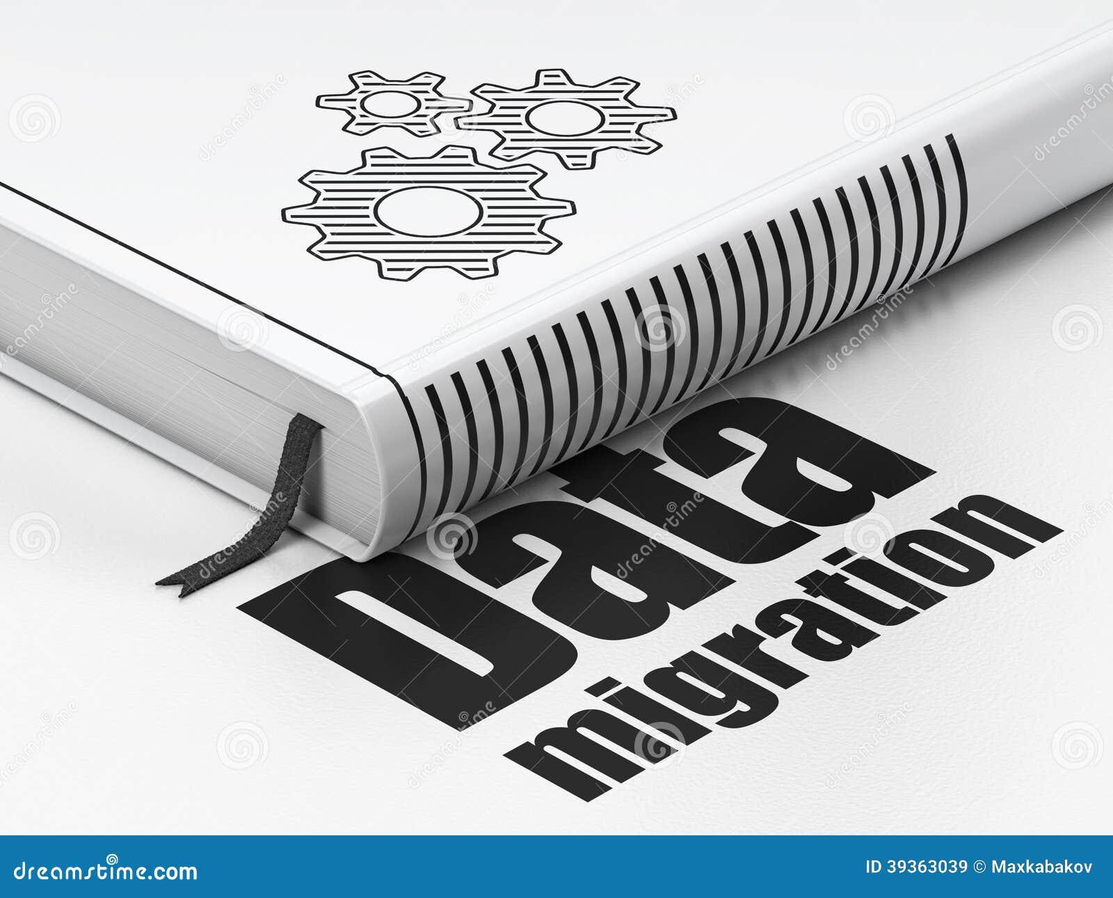 Concepto de la información: reserve los engranajes, migración de datos en el fondo blanco