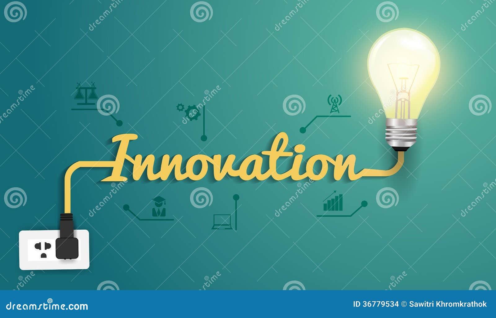 Concepto de la innovación del vector con la bombilla creativa