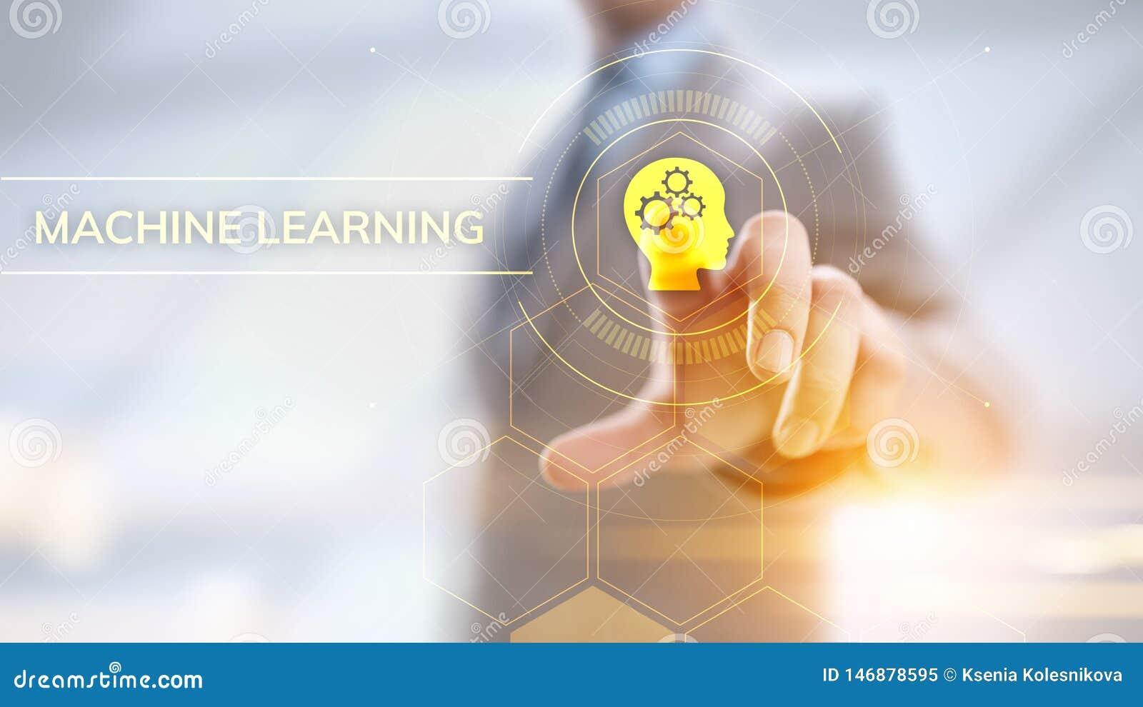 Concepto de la inteligencia artificial del aprendizaje de m?quina Hombre de negocios que presiona el bot?n virtual