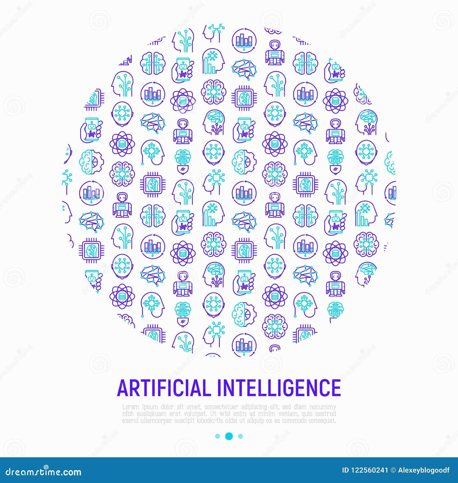 Concepto de la inteligencia artificial en círculo