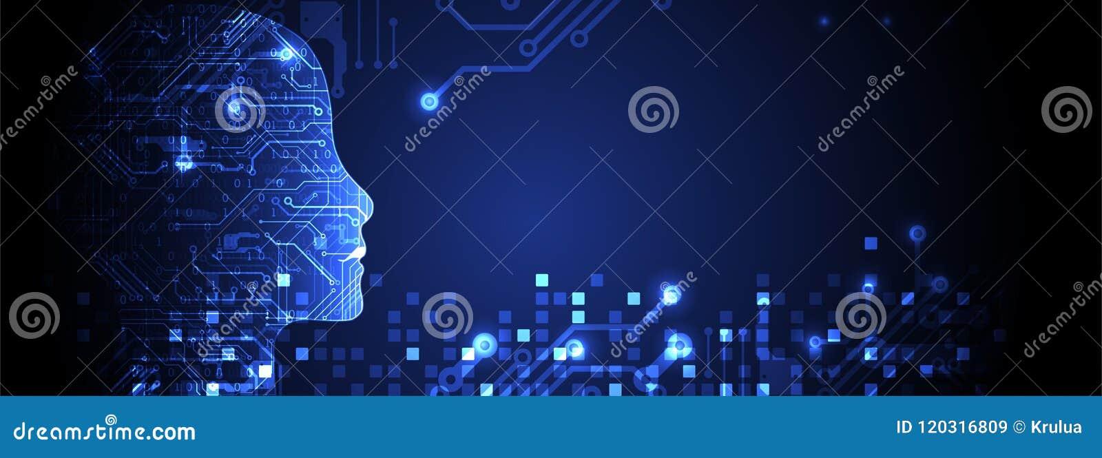 Concepto de la inteligencia artificial Fondo de la tecnología