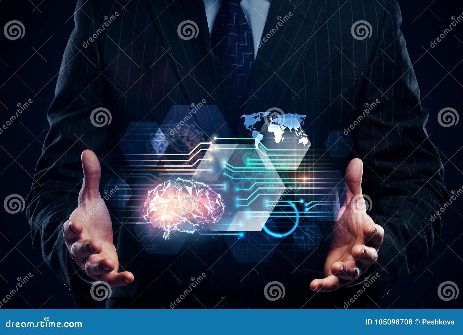Concepto de la inteligencia artificial y del futuro