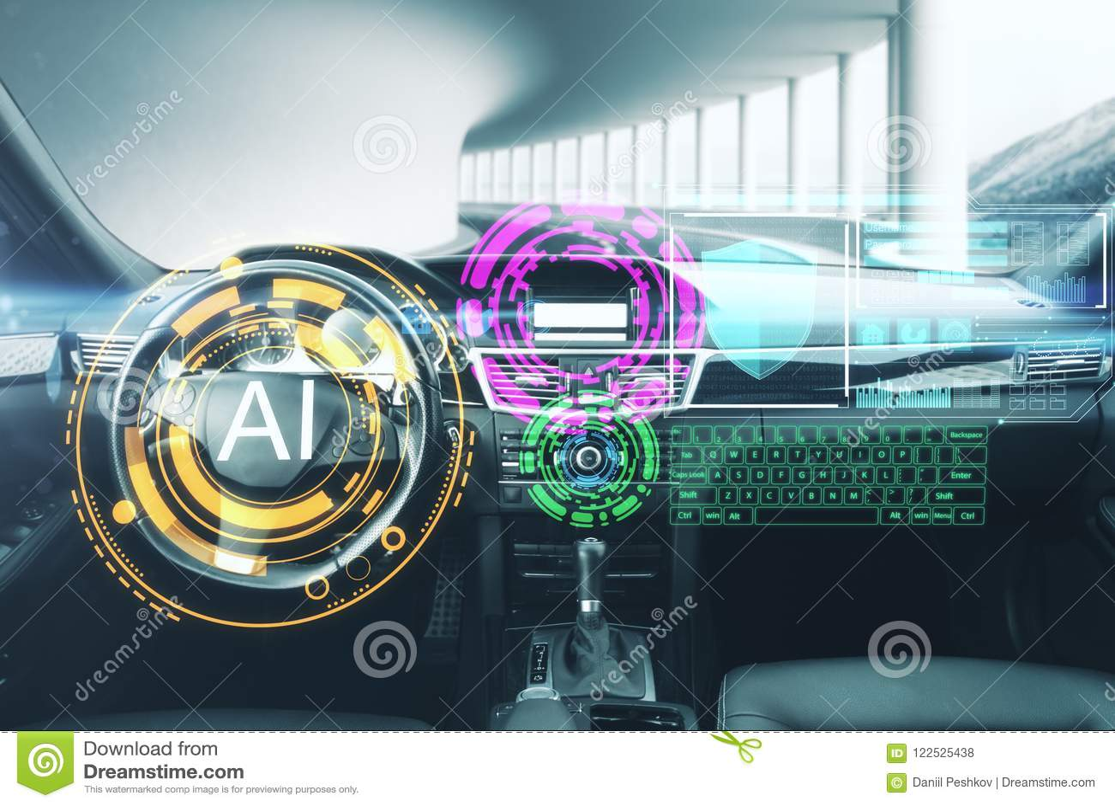 Concepto de la inteligencia artificial y del vehículo