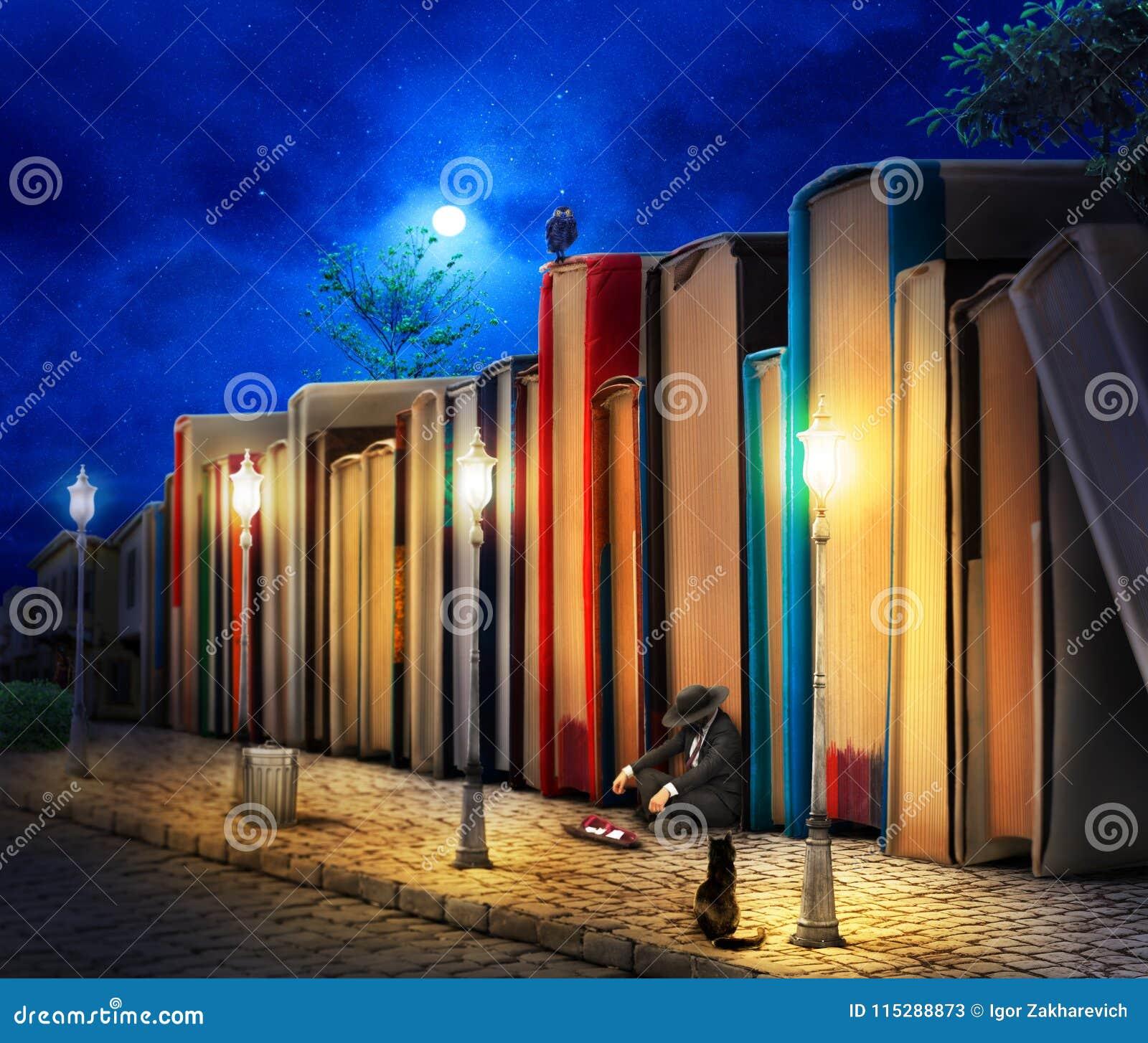 Concepto de la lectura fantasía Pila de libro como edificios