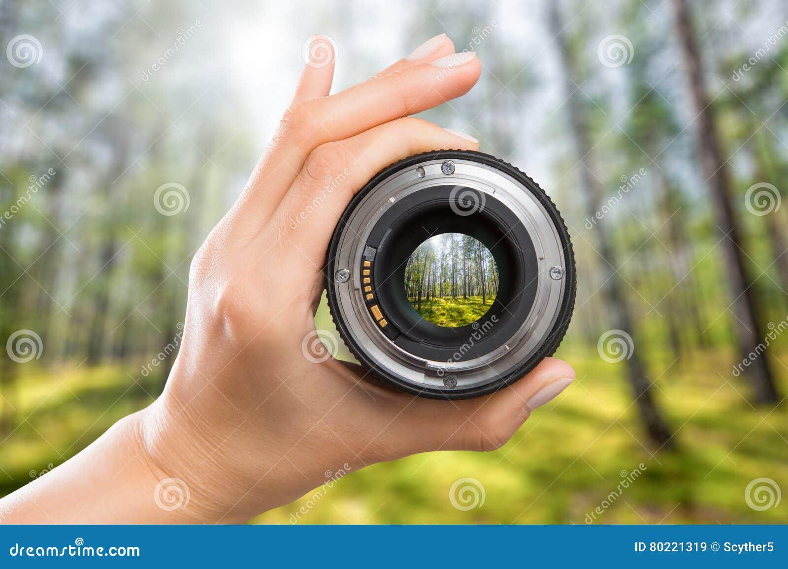Concepto de la lente de cámara de la fotografía