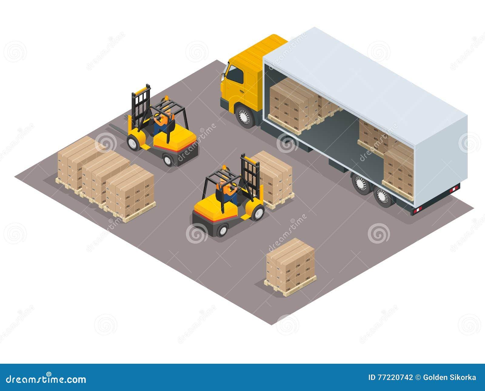 Concepto de la logística Cargo del cargamento en el camión Ejemplo isométrico del vector del servicio de entrega