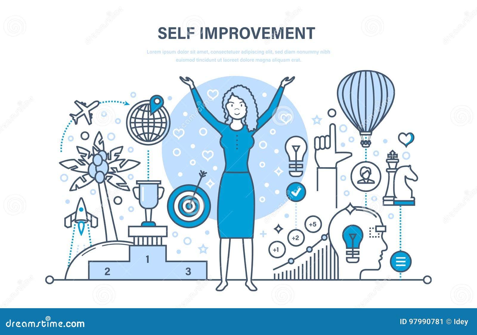 Concepto de la mejora del uno mismo Autodesarrollo, crecimiento personal, inteligencia emocional