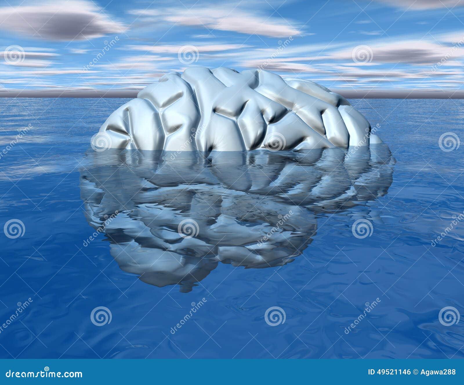 Concepto de la mente subconsciente con el cerebro debajo del agua