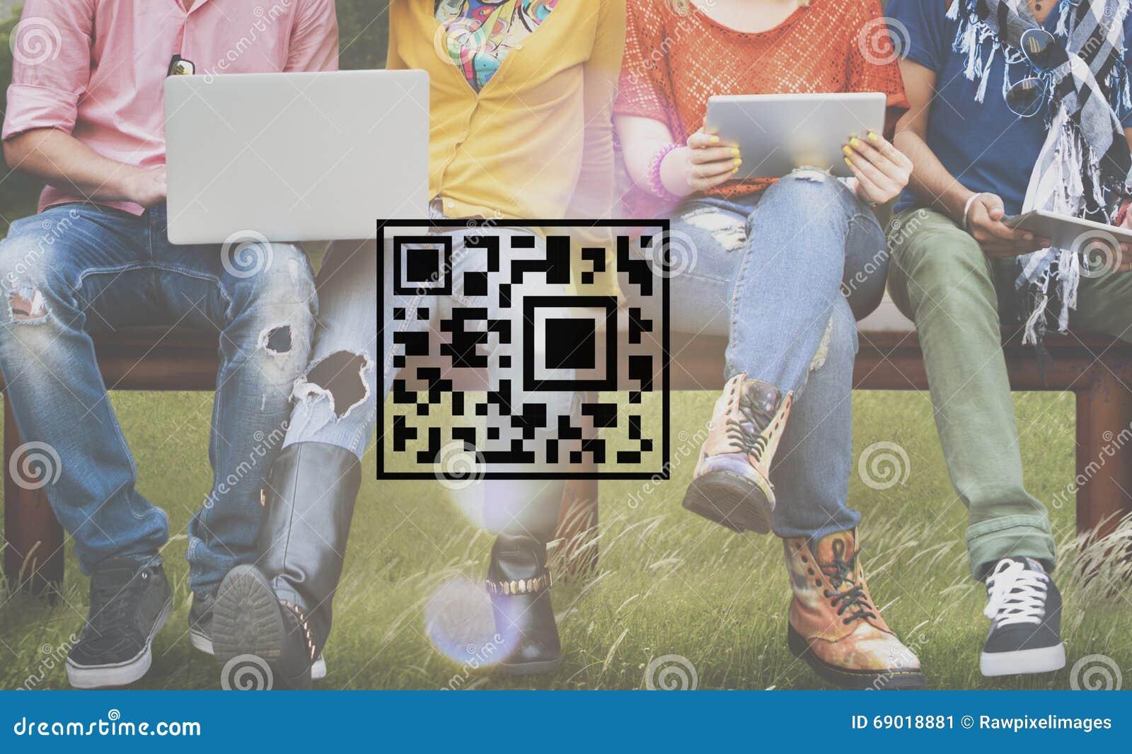 Concepto de la mercancía de la etiqueta de la encripción de la codificación del precio del código de QR