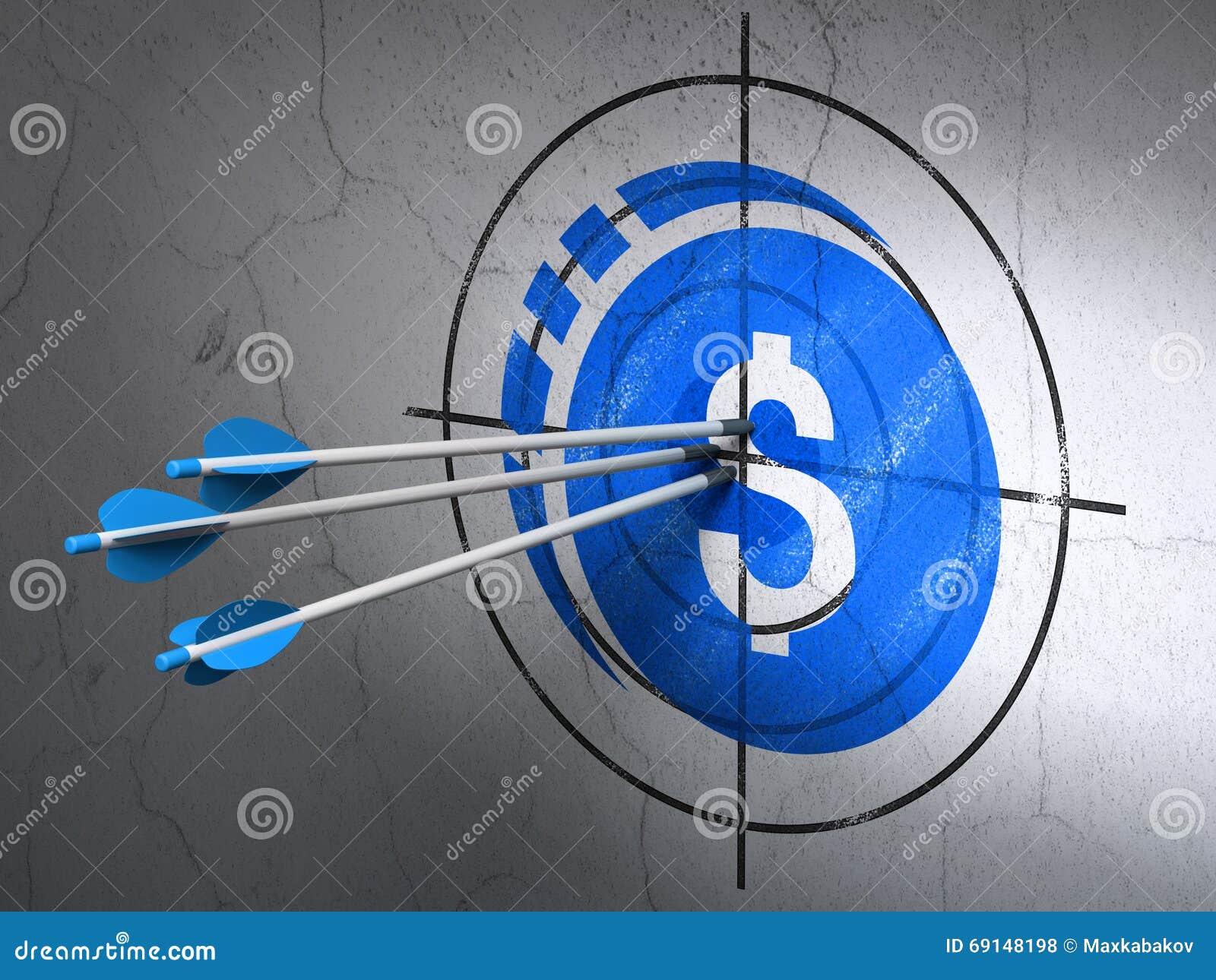Concepto de la moneda: flechas en blanco de la moneda del dólar en fondo de la pared