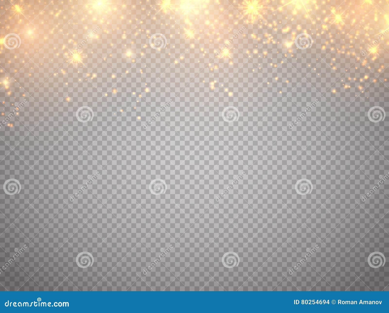 Concepto de la Navidad Movimiento propio de las partículas del brillo del oro del vector Estrellas caidas de la magia del resplan