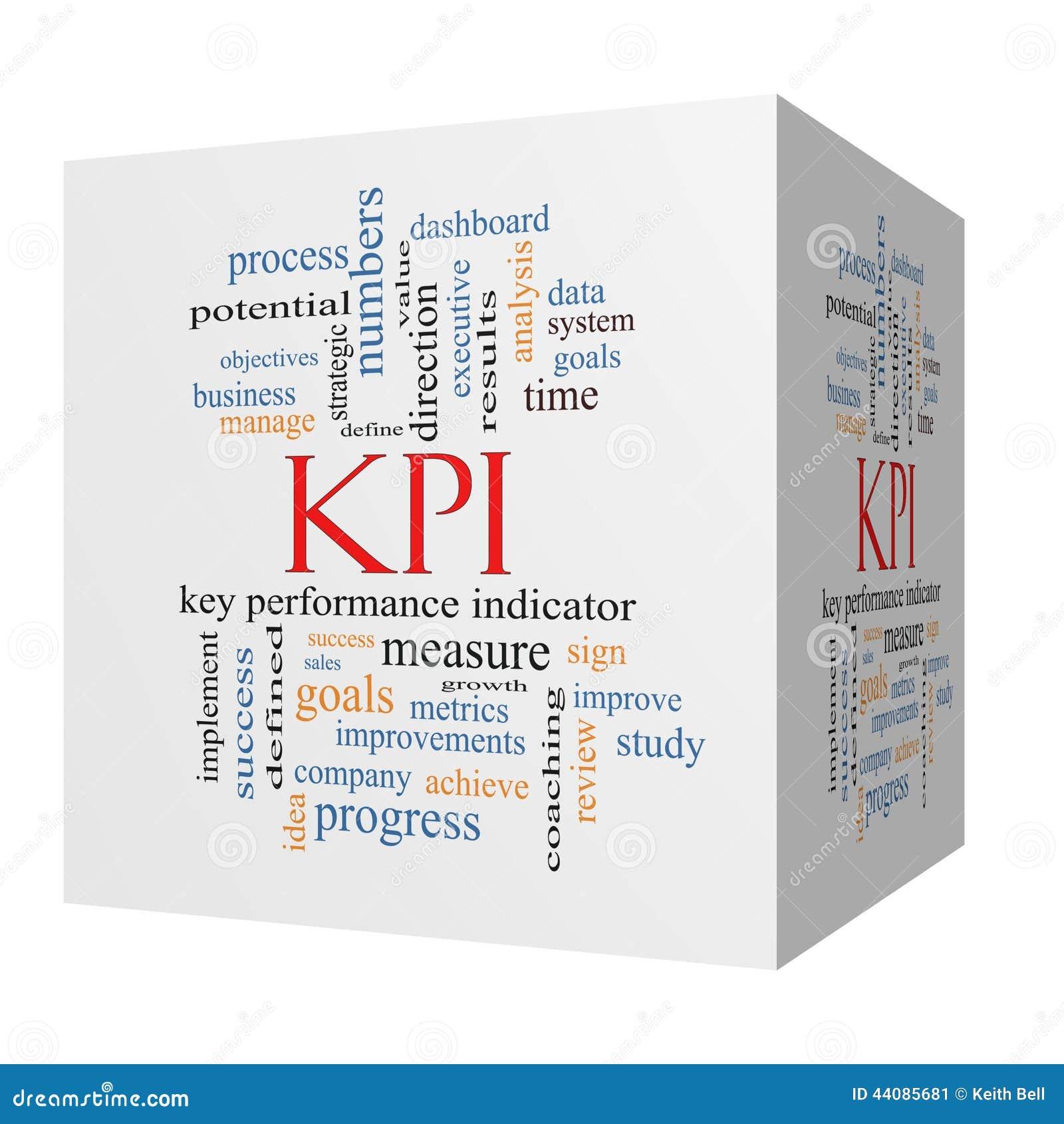 Concepto de la nube de la palabra de KPI en un cubo 3D