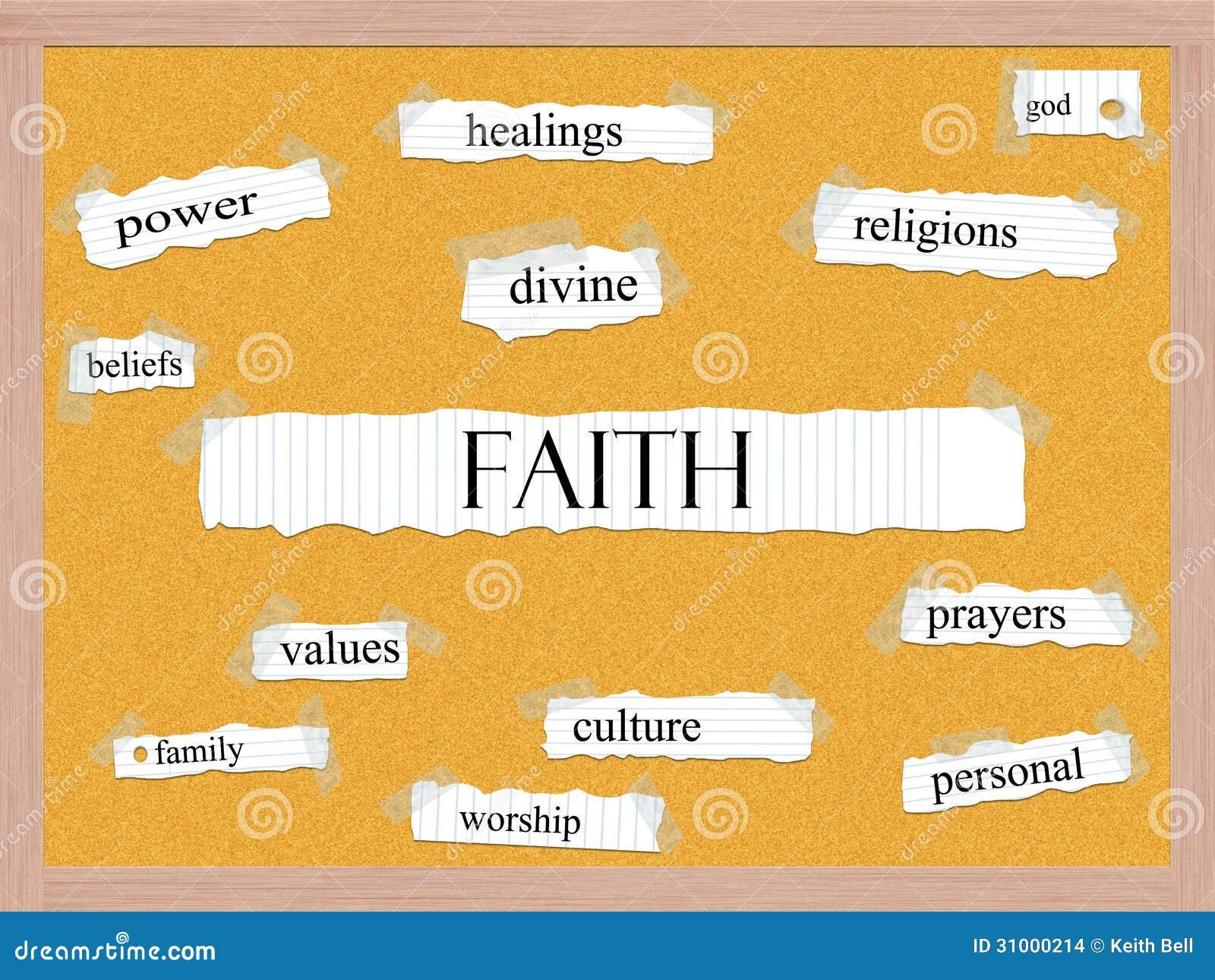 Concepto de la palabra de Corkboard de la fe