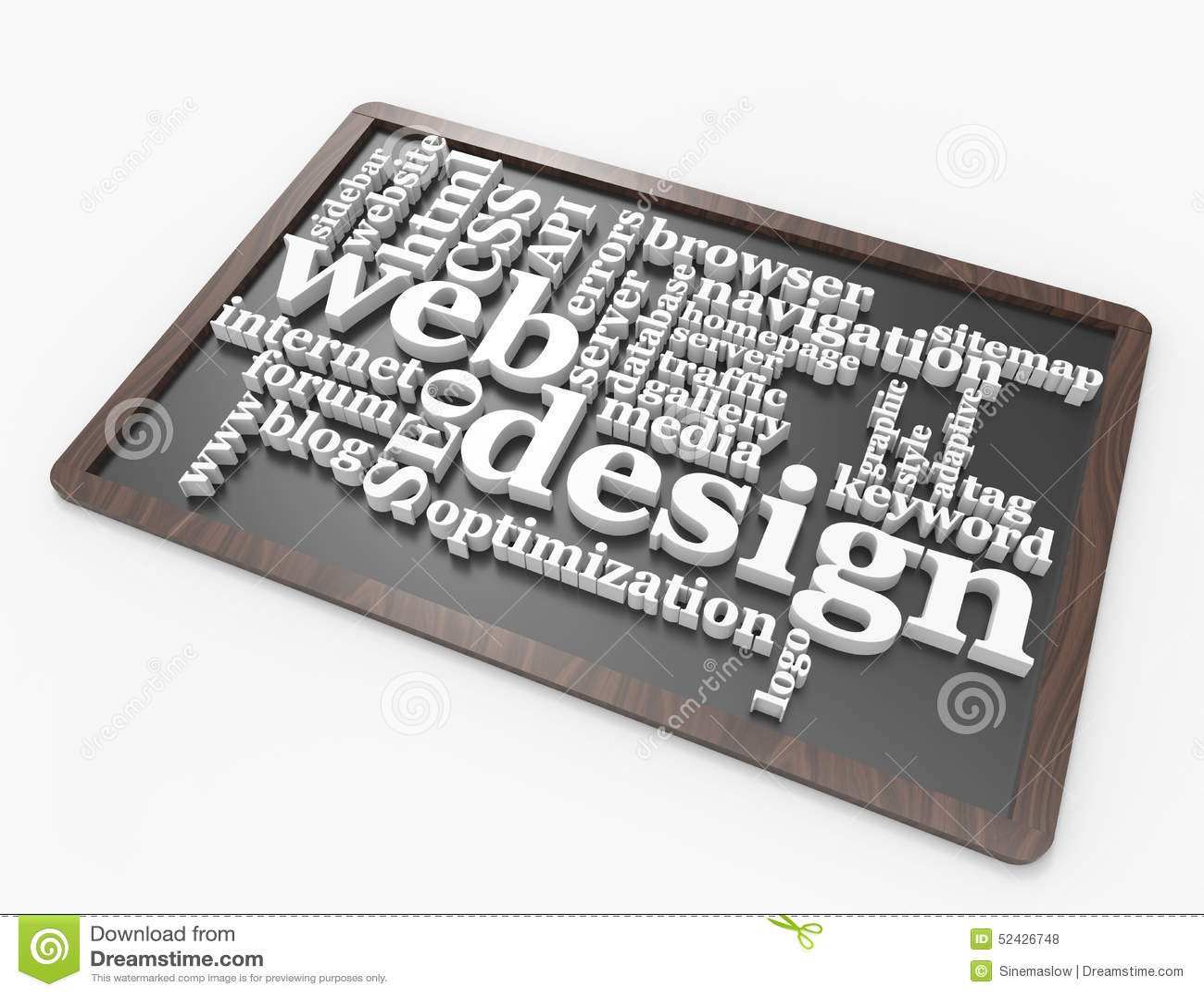 Concepto de la palabra del diseño web en la pizarra