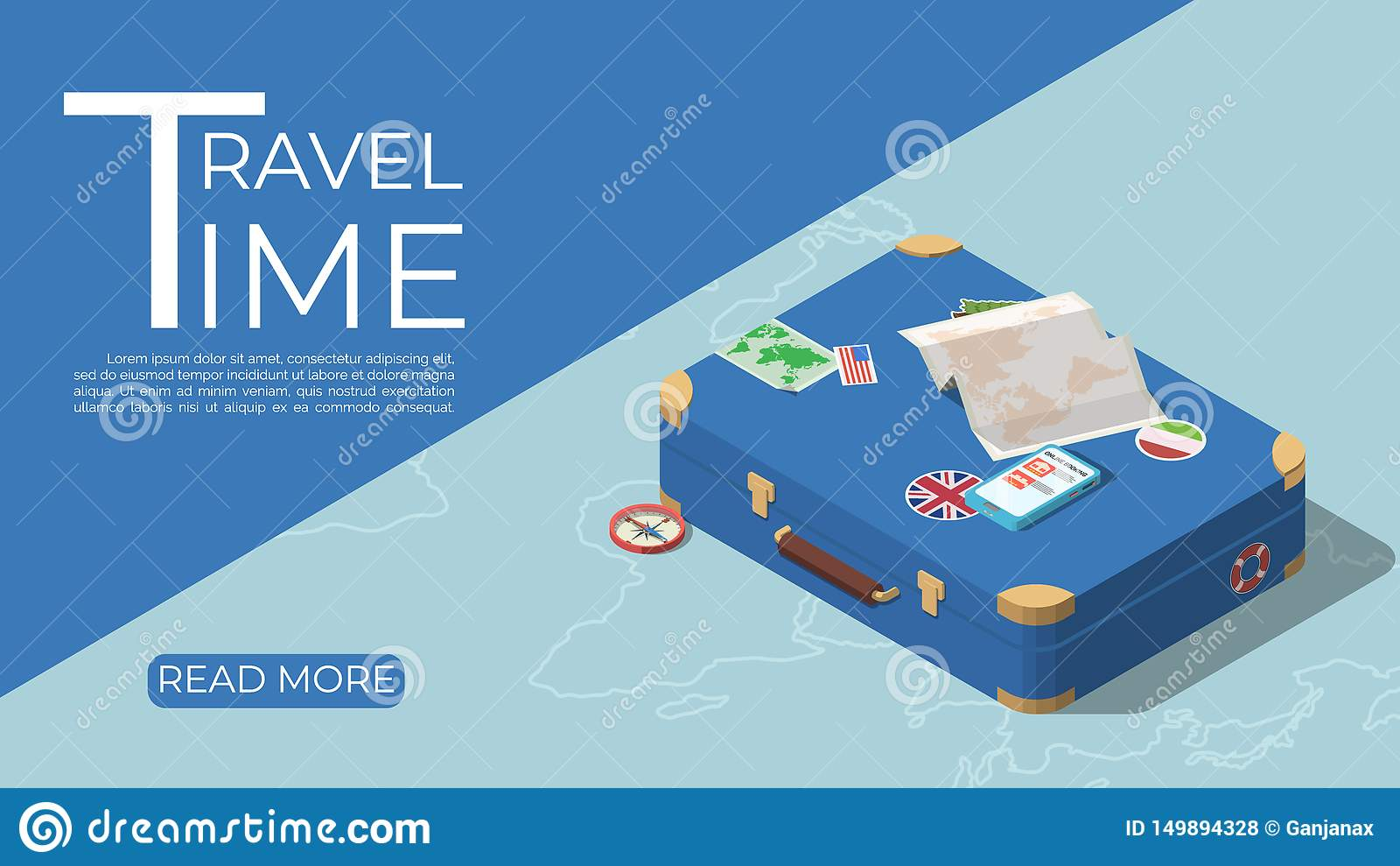 Concepto de la plantilla del turismo en estilo isométrico