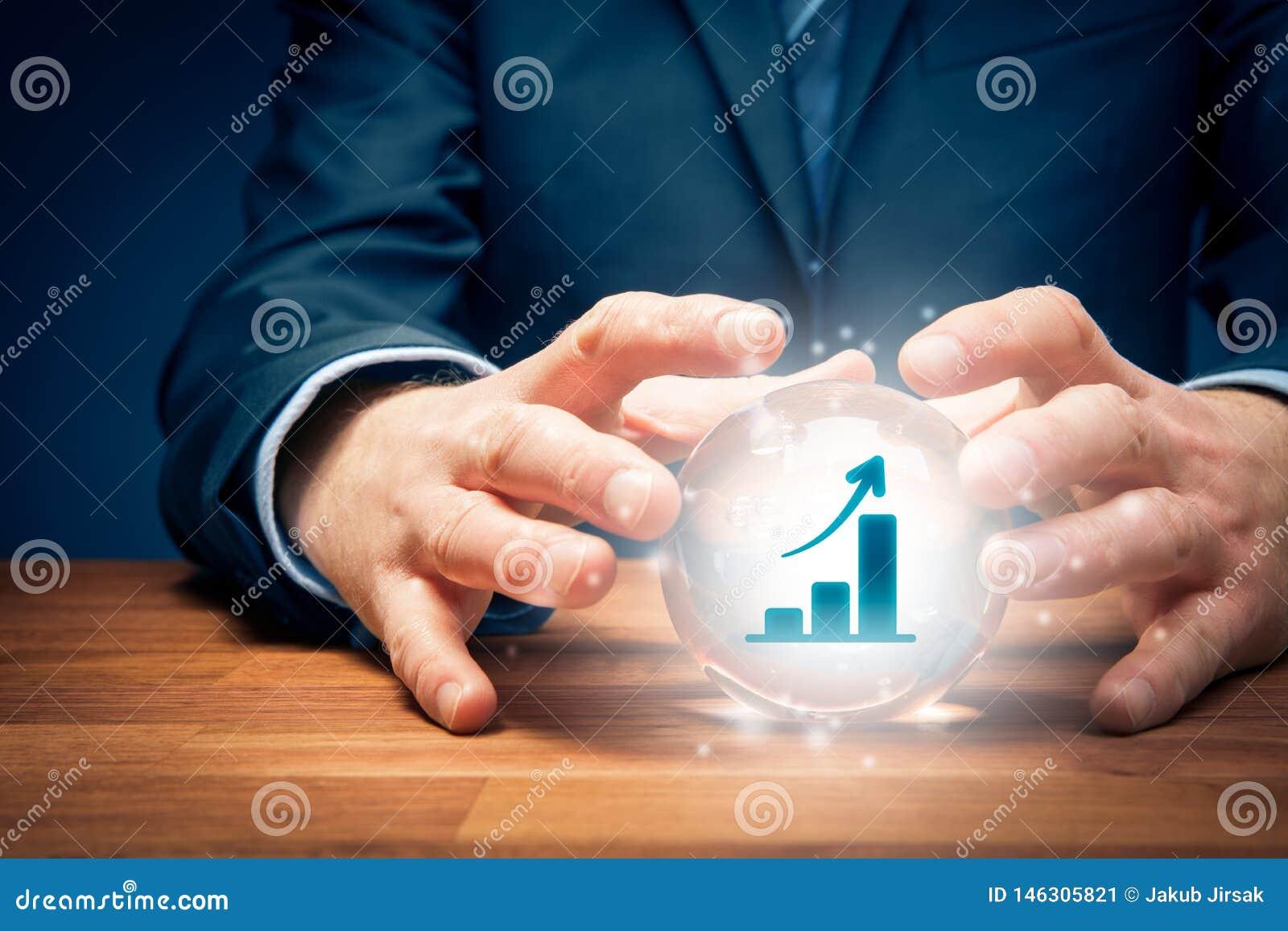 Concepto de la predicción del crecimiento del negocio con la bola de cristal